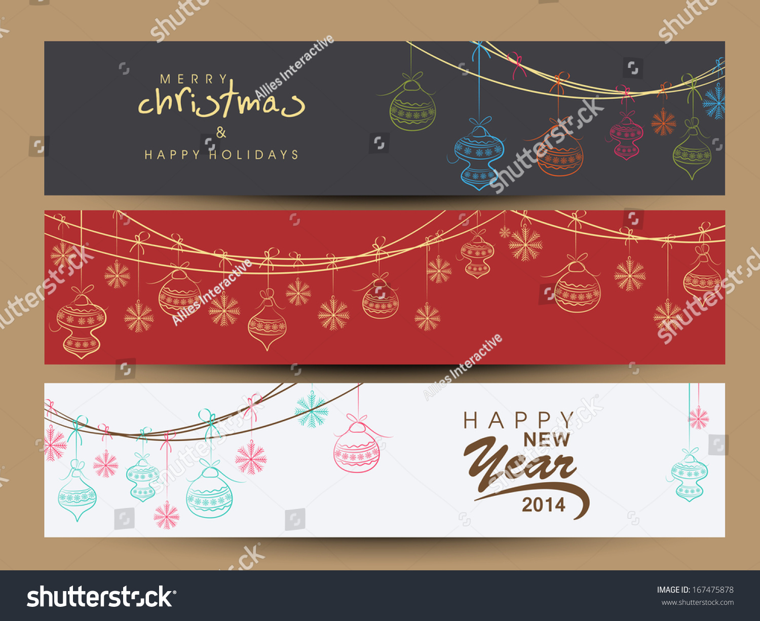 website header or banner set design for happy new year 2014 and merry christmas celebration with