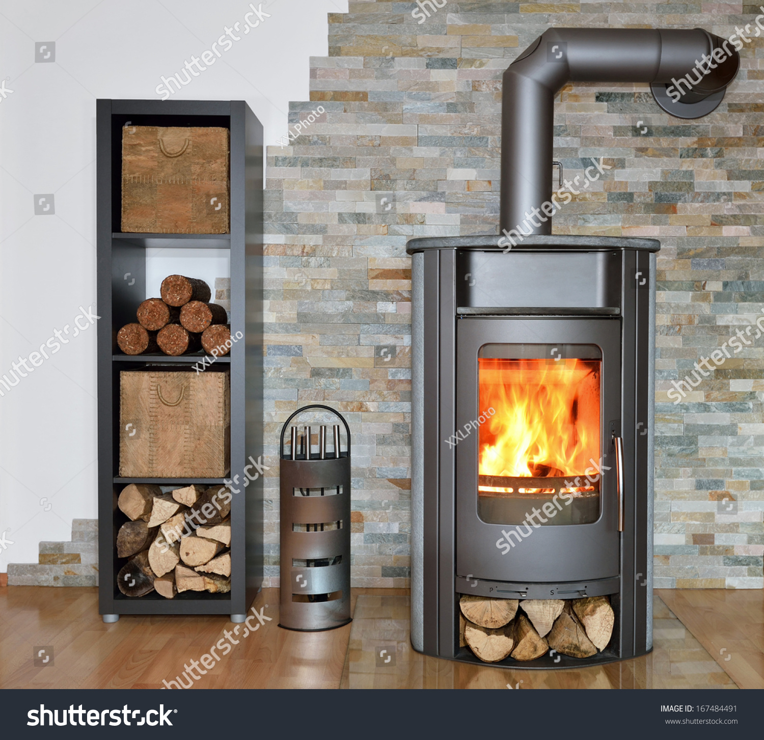 Wood fired stove with fire irons and