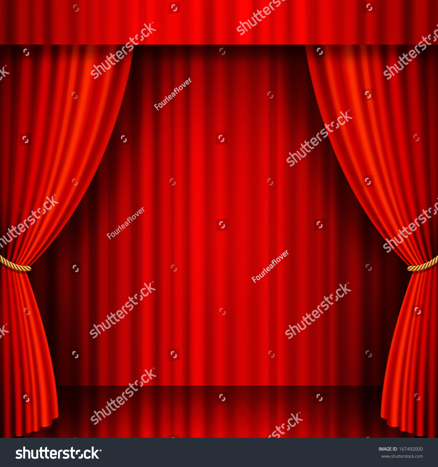 Red velvet curtains stage - Illustration Of A Theater Stage With Red Velvet Curtains