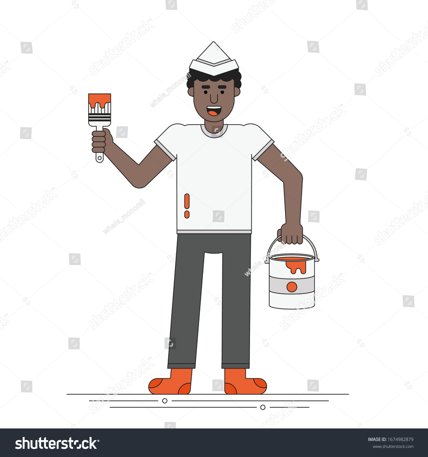 Smiling African Man Holds Brush Paint Stock Vector Royalty Free 1674982879