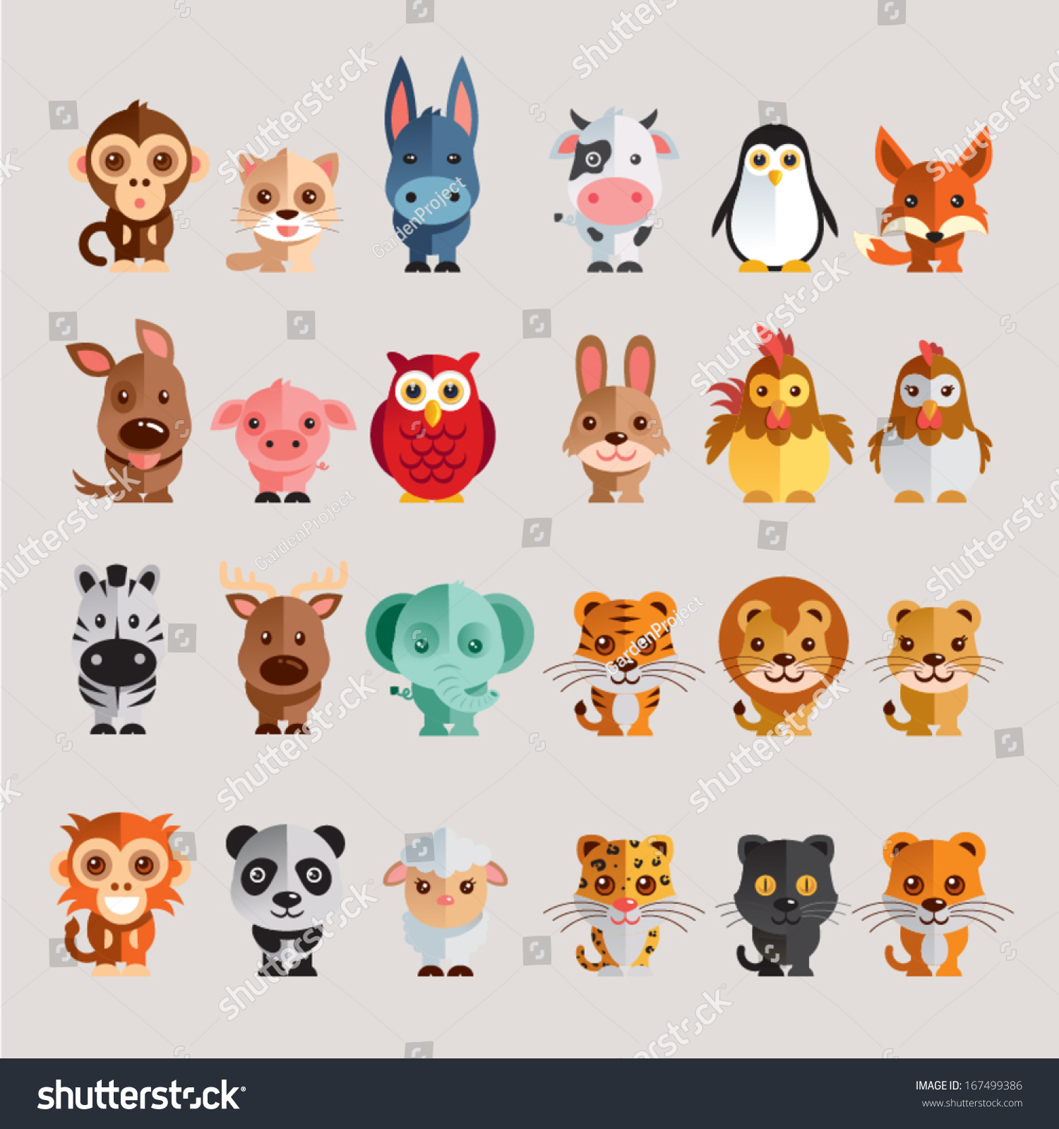 funny animal vector illustration icon set stock vector 167499386