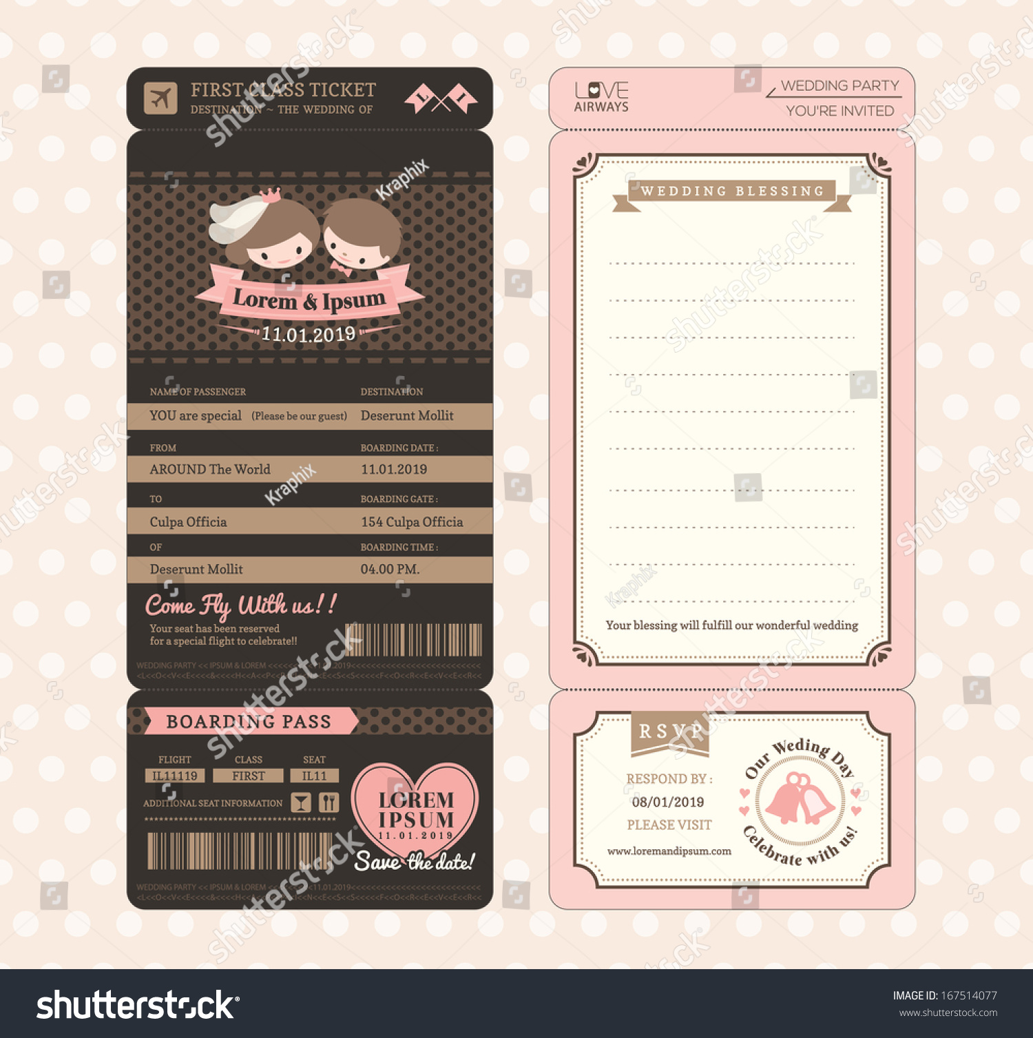 Cute Groom Bride Vintage Boarding Pass Vector 167514077 – Ticket Design Template