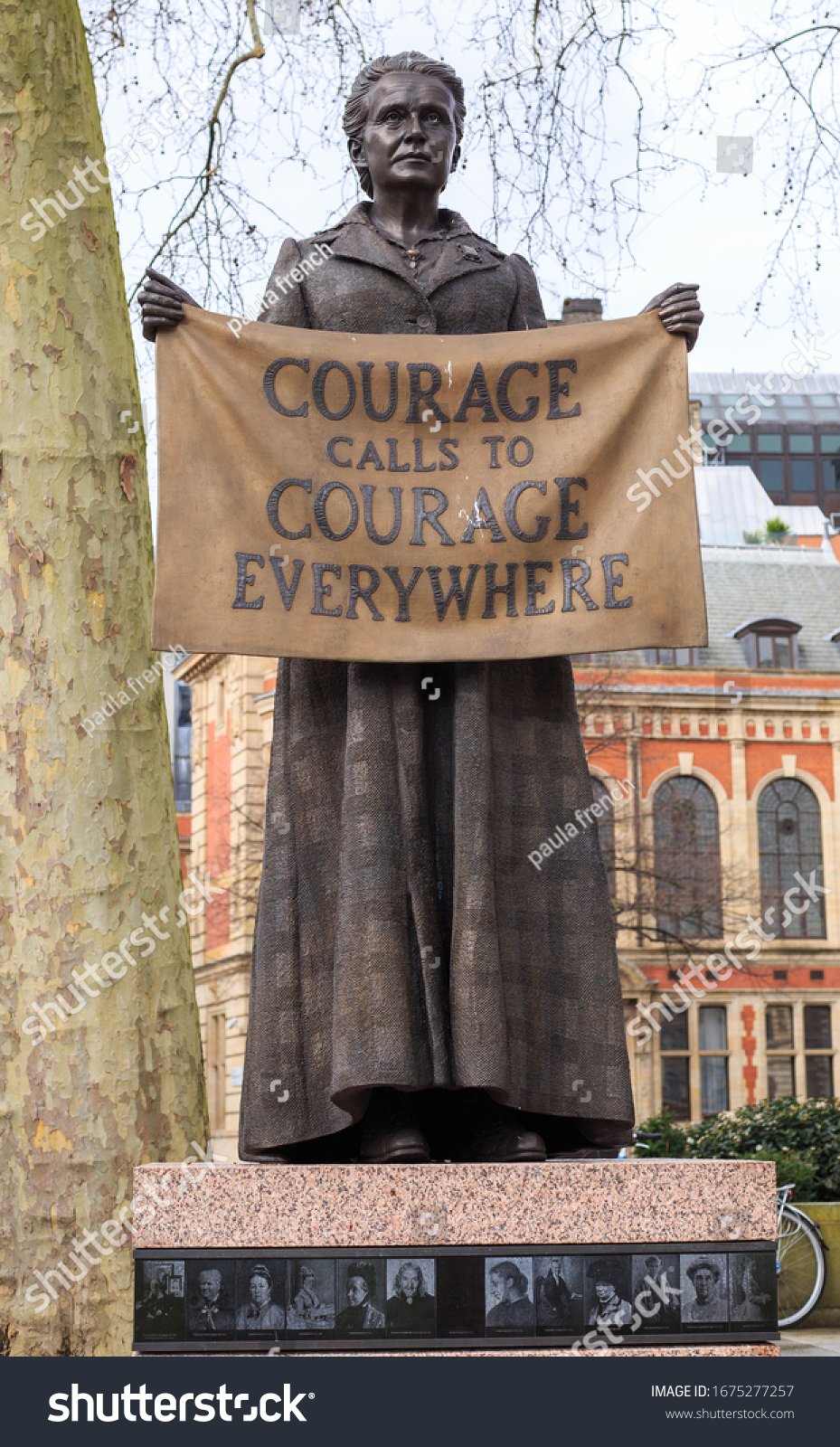 Suffragist Millicent Fawcett in Parliament Square, London, 2020. It is the only statue in the Square of a woman, and is also the only one which was designed by a woman - Gillian Wearing.