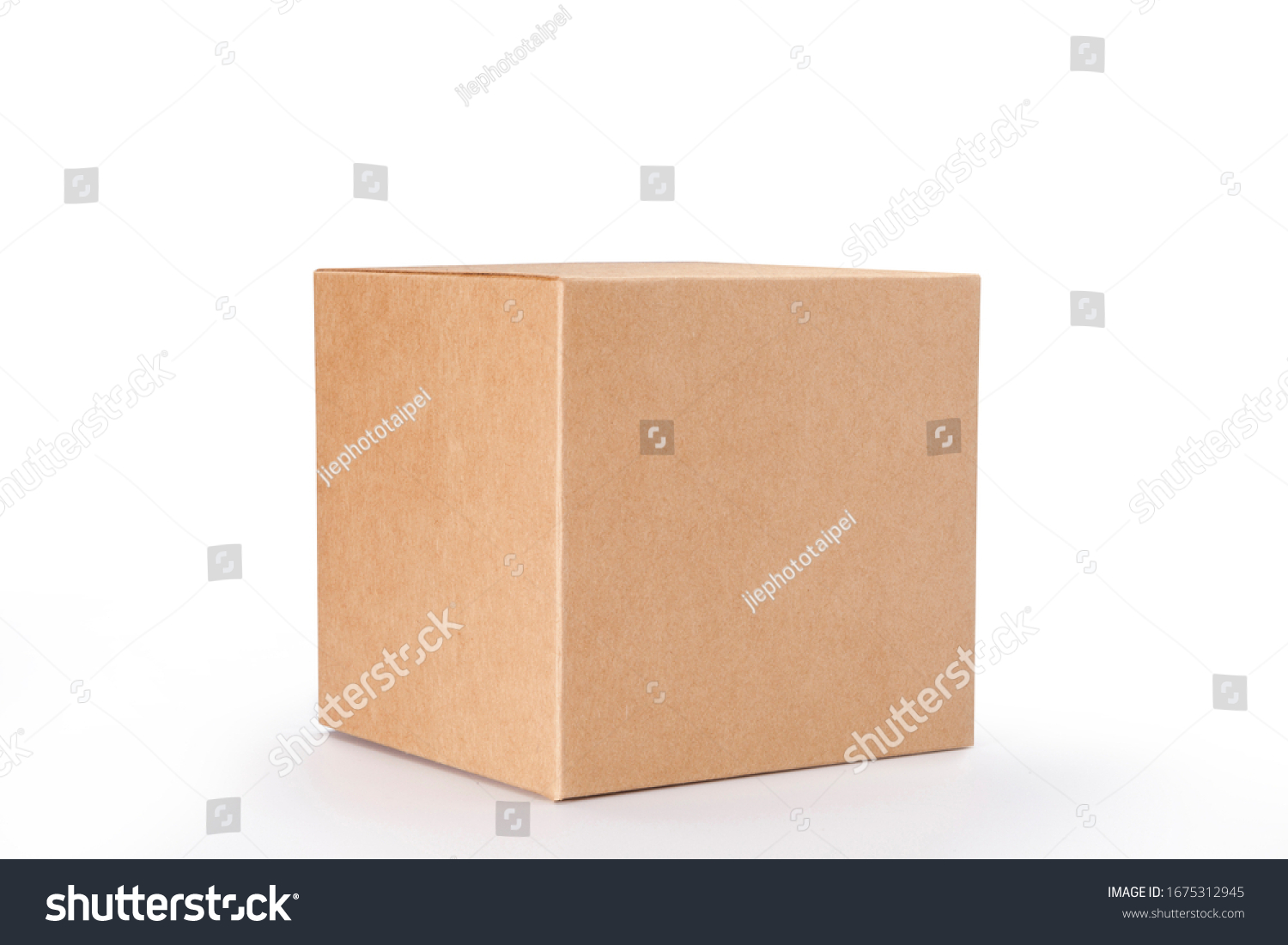 Brown cardboard box isolated on white background with clipping path. Suitable for food, cosmetic or medical packaging. #1675312945