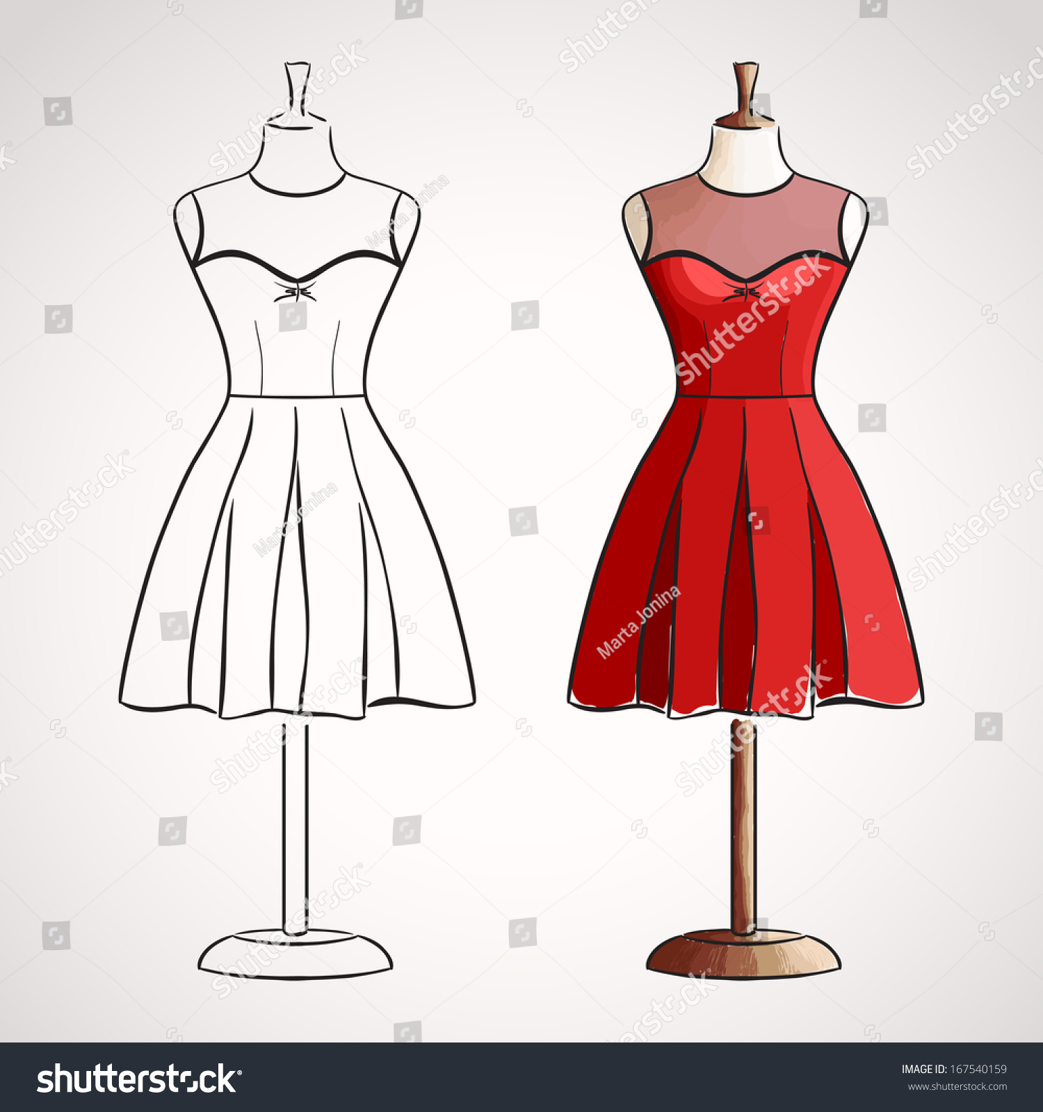 Hand Drawn Dress On Mannequin Silhouette Stock Vector