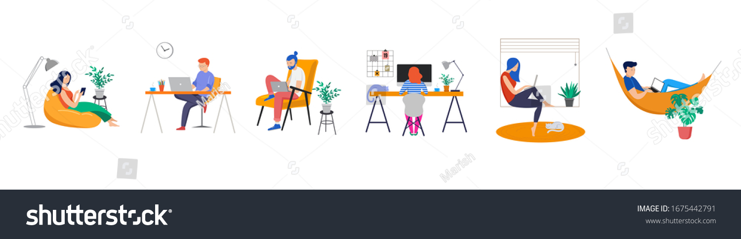 Working at home, coworking space, concept illustration. Young people, man and woman freelancers working on laptops and computers at home. People at home in quarantine. Vector flat style illustration #1675442791
