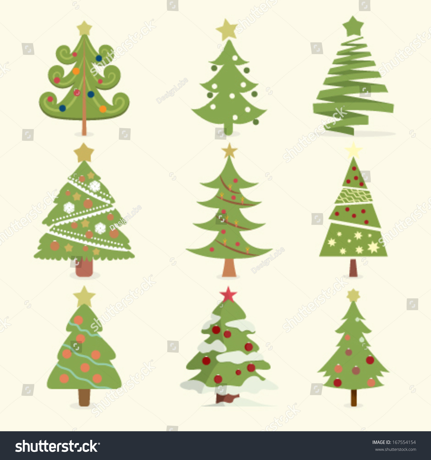 Set Christmas Trees Different Styles Stock Vector 167554154 ...
