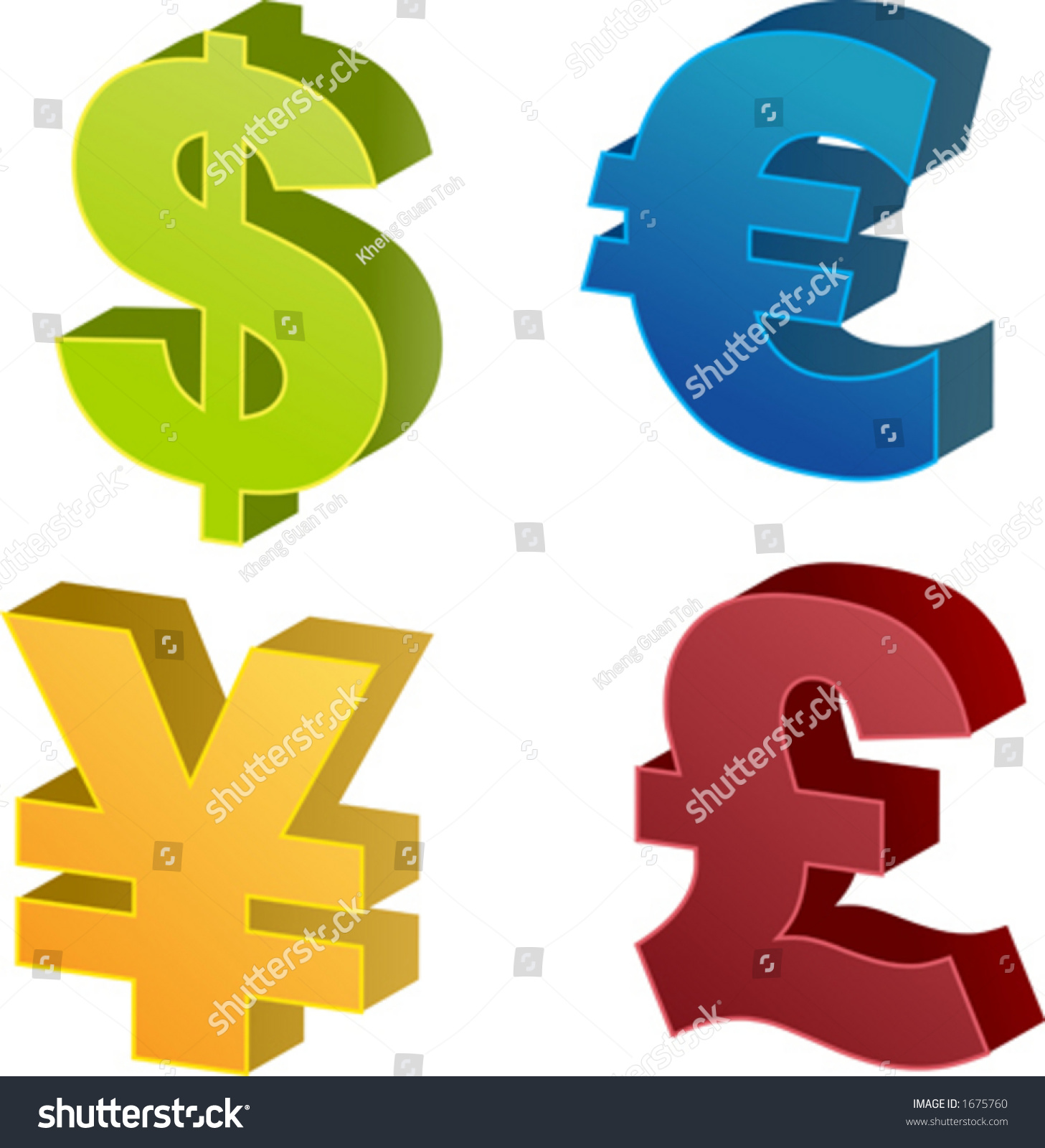 Currency Symbol Isometric Illustrations Dollar Euro Stock Vector