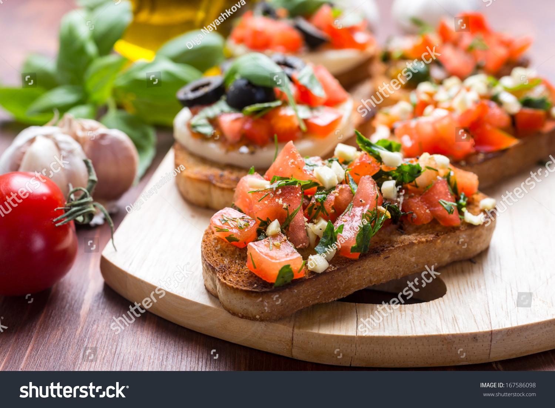 Italian Appetizer Bruschetta Roasted Tomatoes Mozzarella ...
