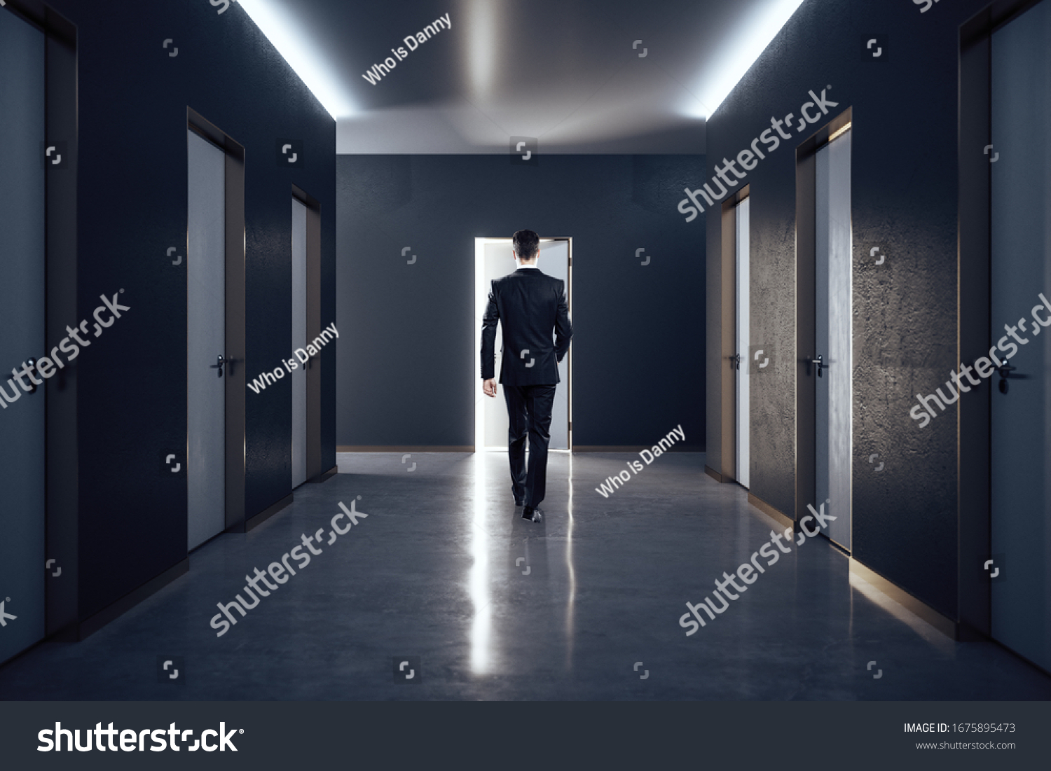 Businessman in hall interior with closed doors. Design and style concept. #1675895473