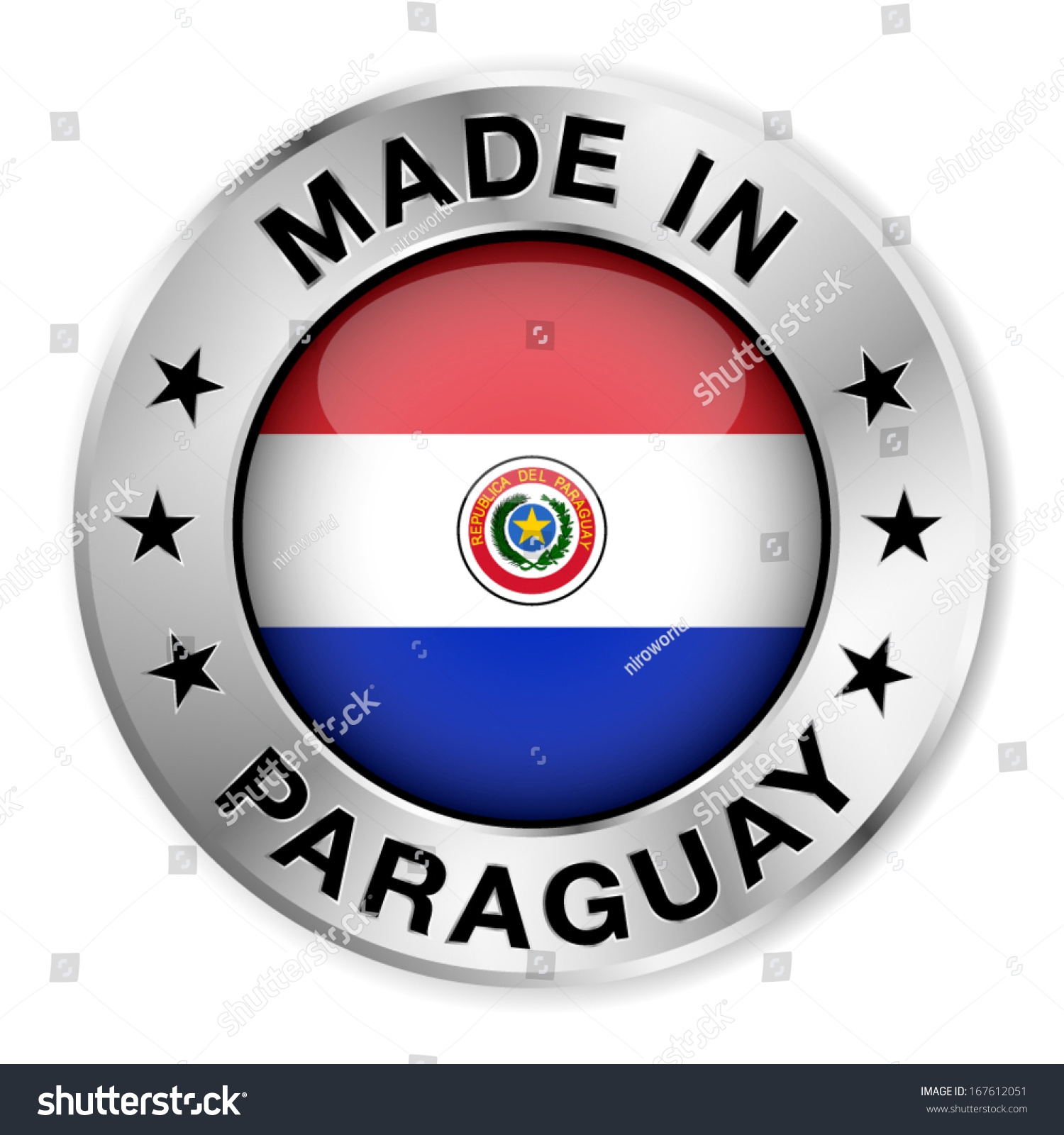Paraguay flag symbol images symbol and sign ideas made paraguay silver badge icon central stock vector 167612051 made in paraguay silver badge and icon buycottarizona