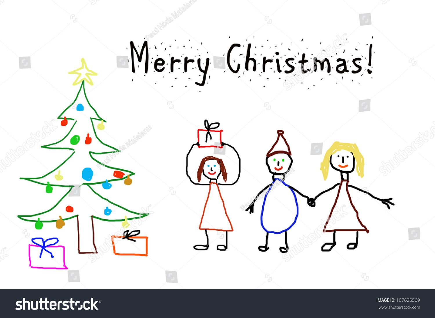 Kids Drawing Christmas Card Stock Illustration 167625569 - Shutterstock