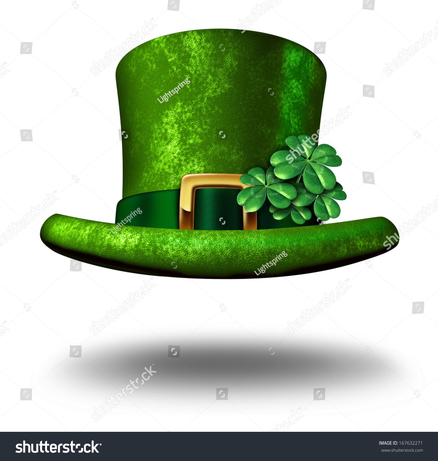 Green Shamrock Lucky Top Hat St Stock Illustration 167632271