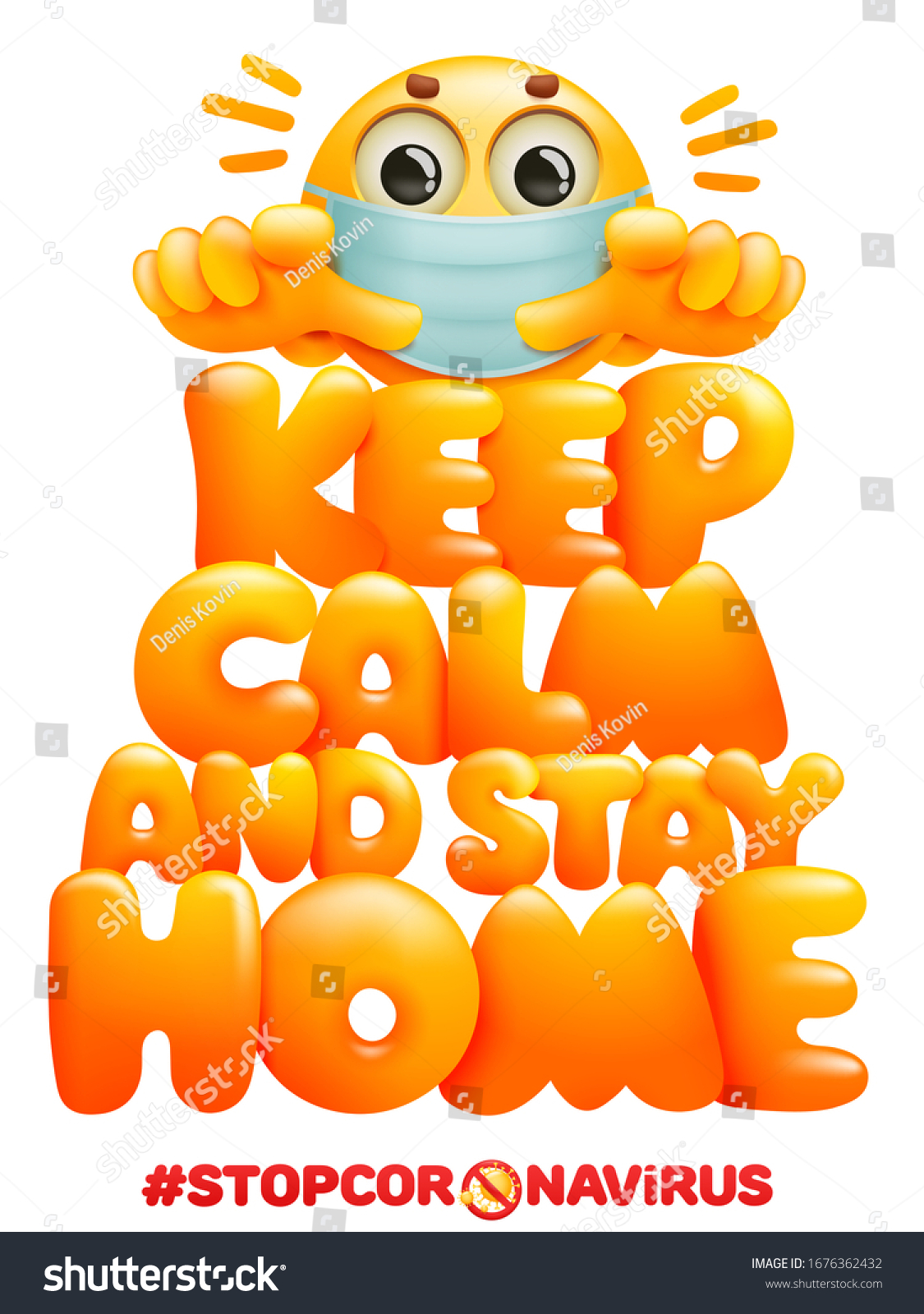 Keep Calm Stay Home Postr Template Stock Vector (Royalty Free) 1676362432