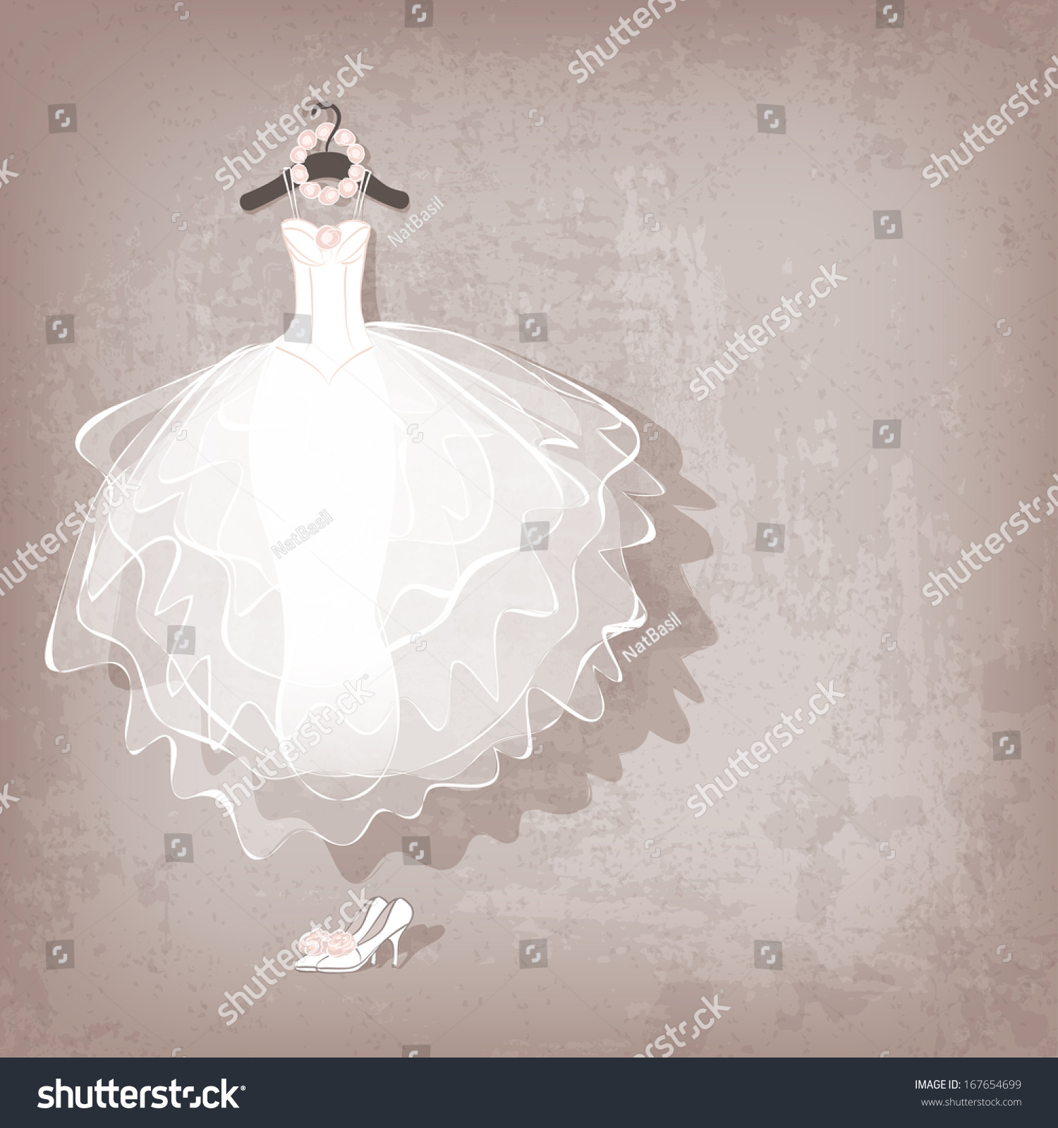 Wedding dress on grungy background vector stock vector Wedding dress illustration