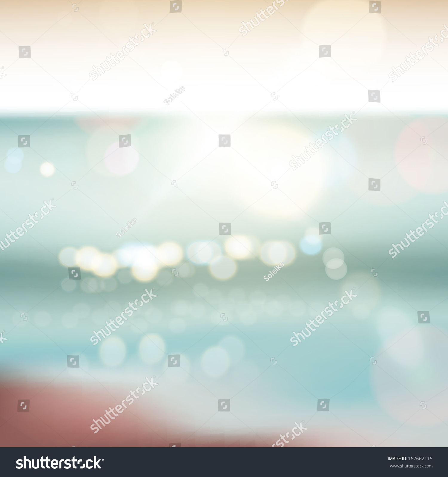 Background Of Blurred Beach And Sea Waves With Bokeh: Abstract Ocean Seascape Blurred Background Stock Vector