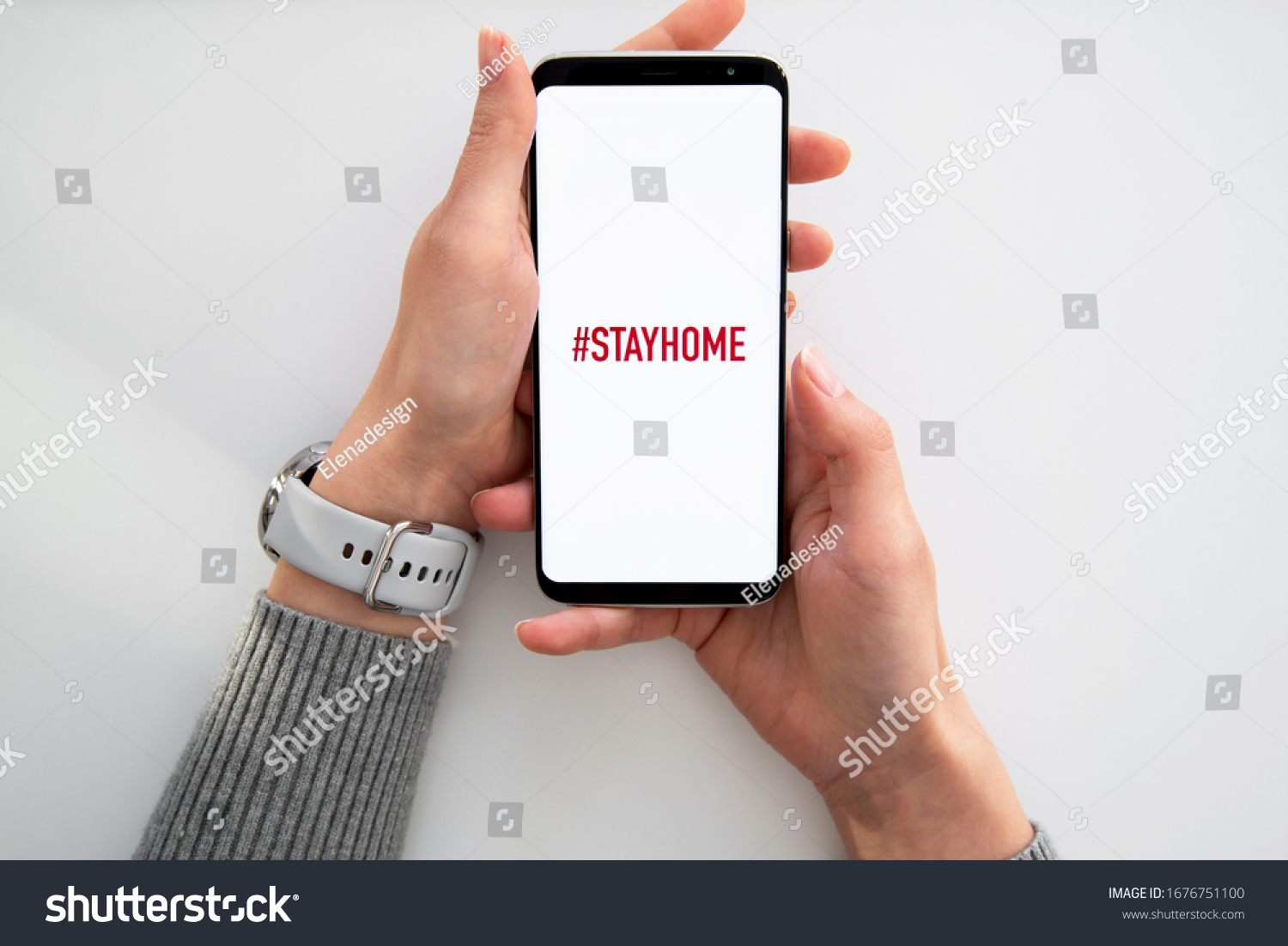 Quarantine and warning, attention, outbreak alert notification on mobile and smart watches devices. Stay at home advice to stop coronavirus COVID-19 spreading. Global pandemic Covid -19 prevention #1676751100