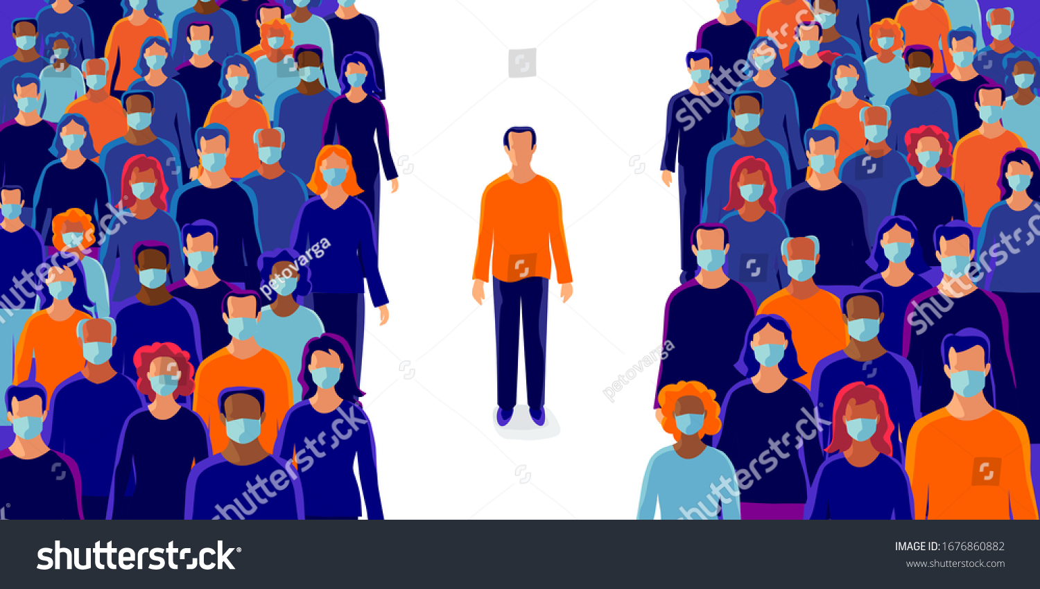 Group of people wearing protection medical face mask to protect and prevent virus, disease, flu, air pollution, contamination, corona. Man person alone standing in isolation in distance from others.  #1676860882