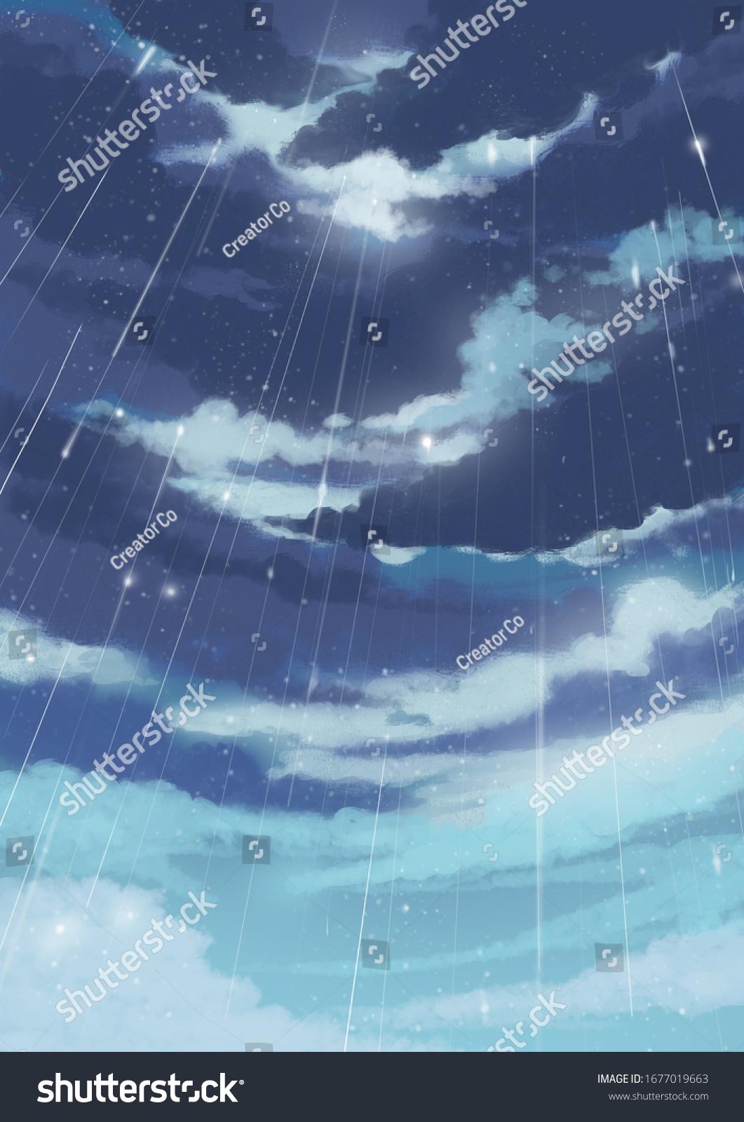 Anime Raining Sky Background Your Animeanimation Stock Illustration 1677019663