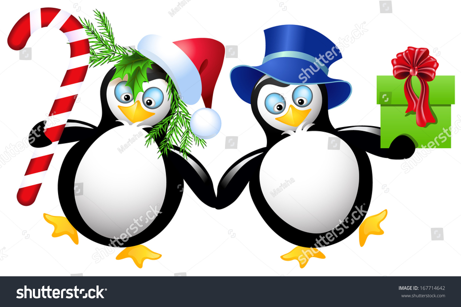 Two funny penguin christmas gifts stock vector 167714642 two funny penguin with christmas gifts negle Images