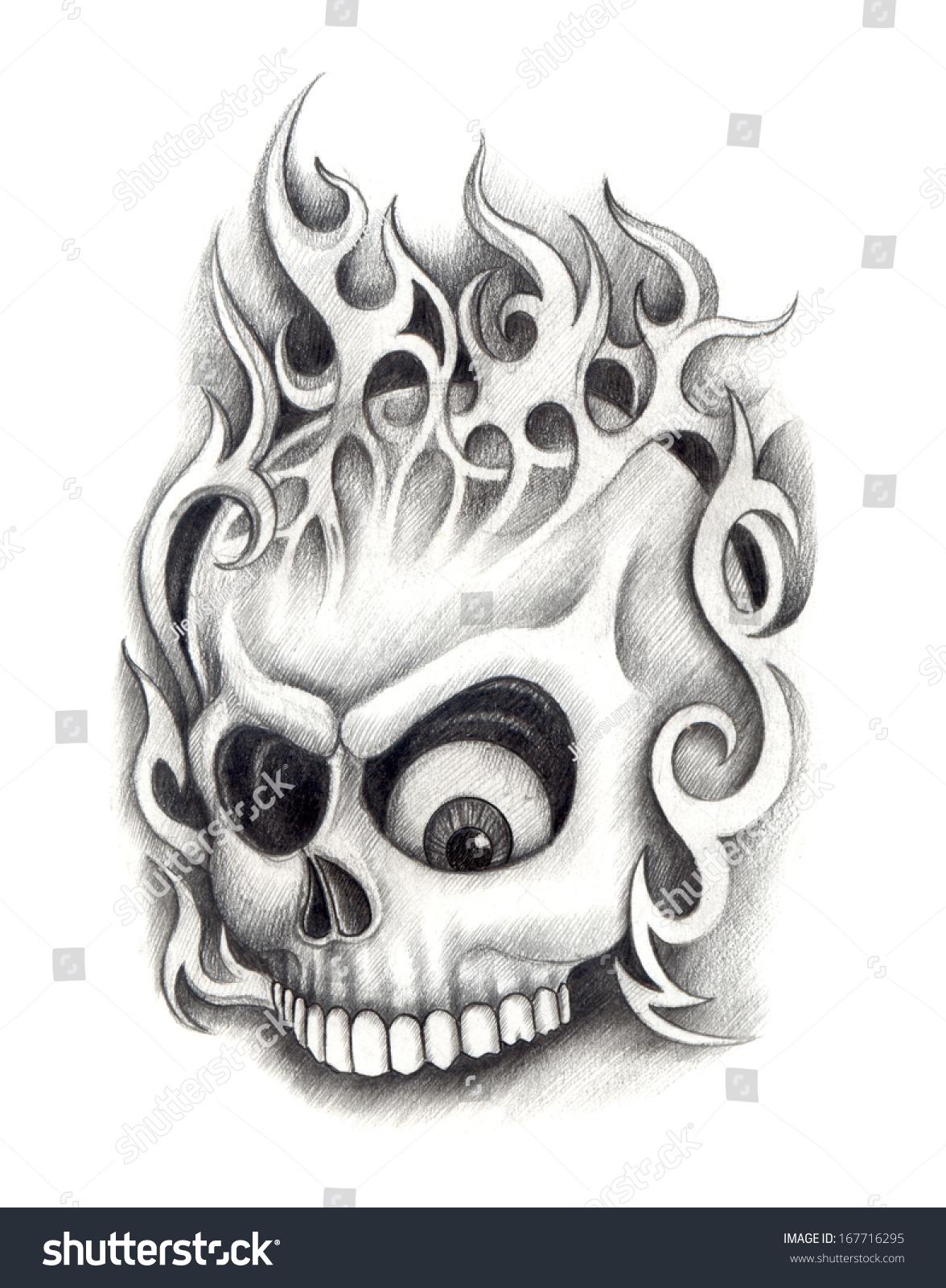 skull tattoo hand drawing on paper stock illustration 167716295 shutterstock. Black Bedroom Furniture Sets. Home Design Ideas
