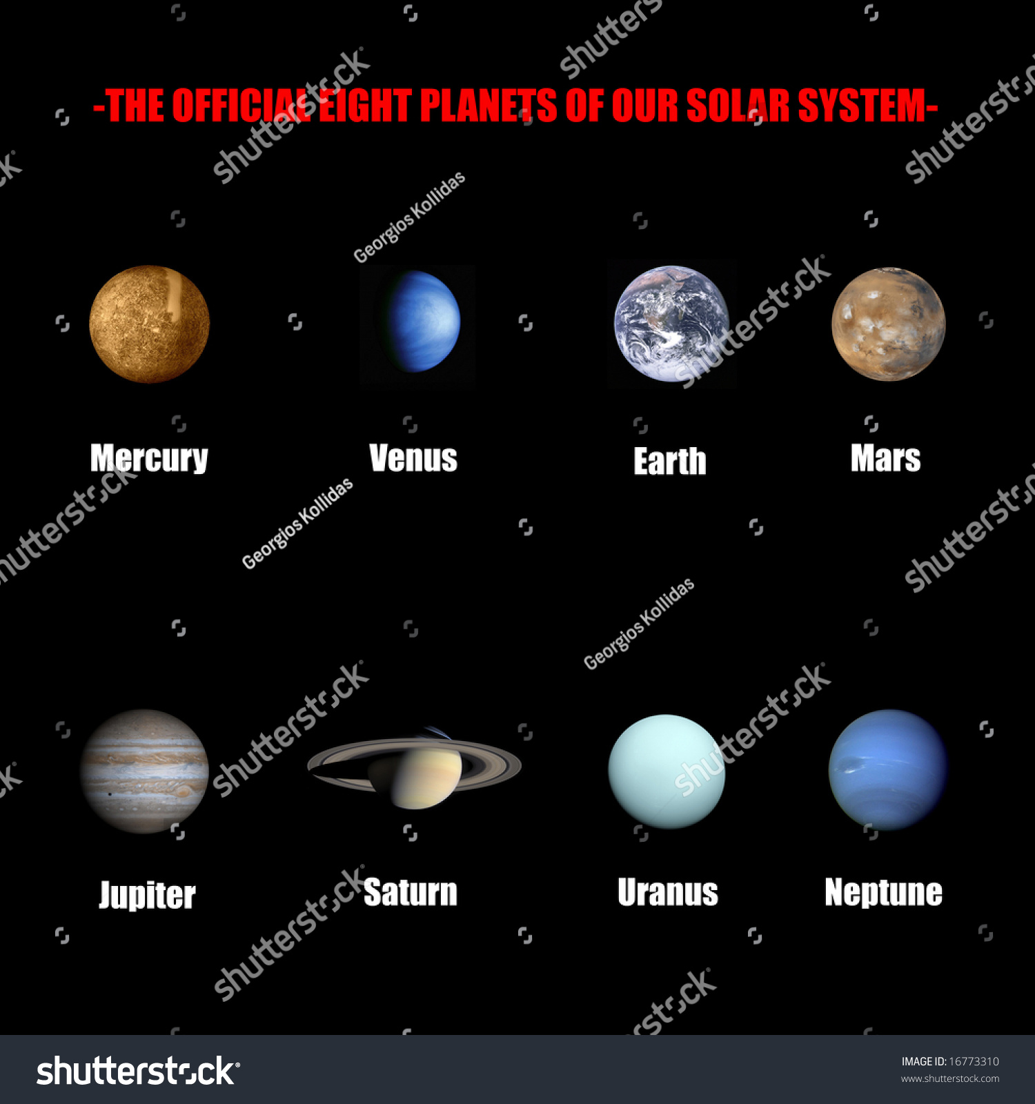 The Official Eight Planets Of Our Solar System Stock Photo ...