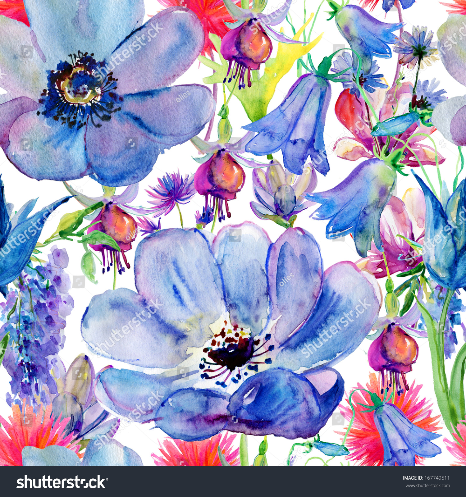 Seamless Wallpaper Blue Pink Flowers Watercolor Stock Illustration
