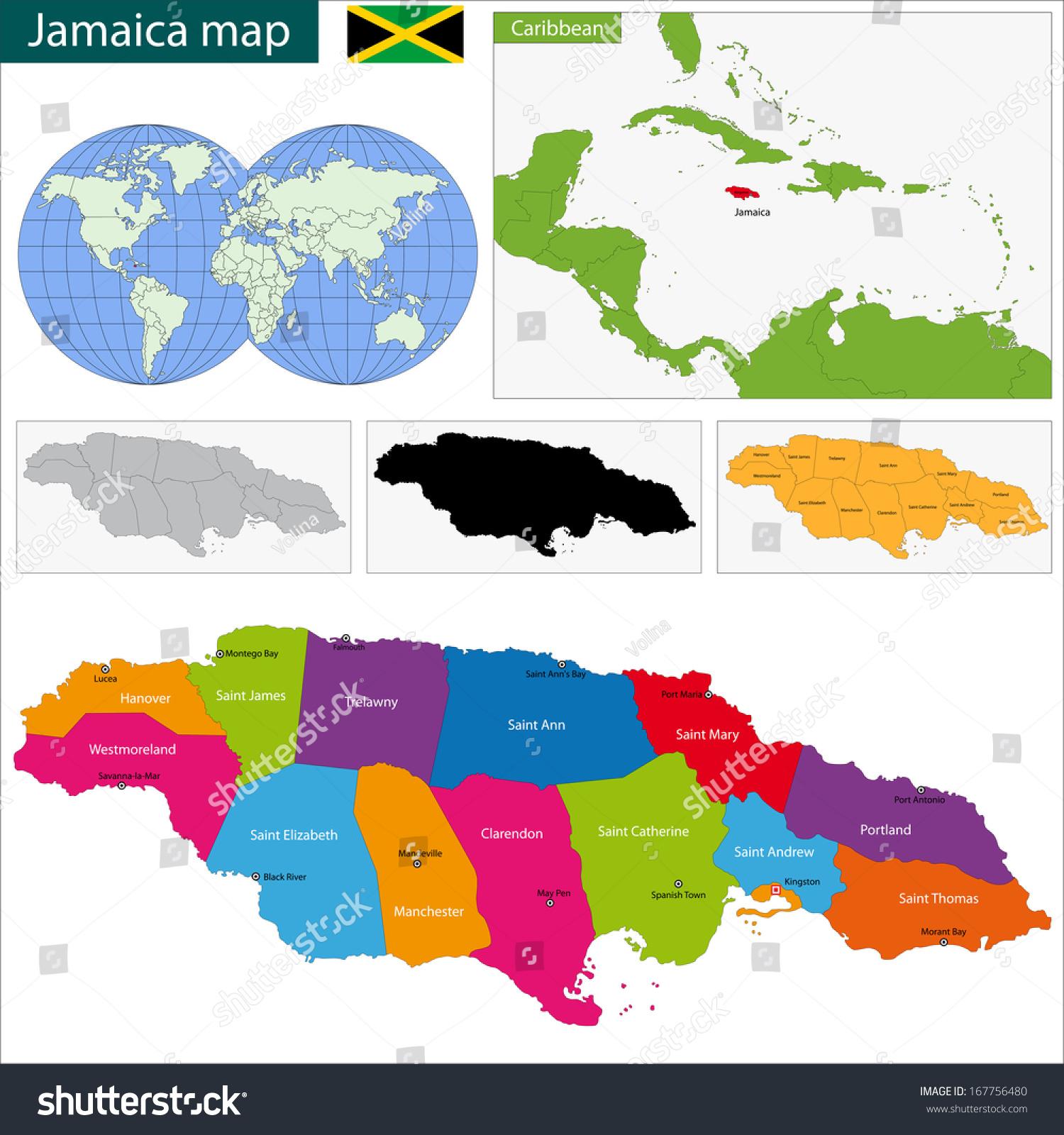 Map Jamaica Parishes Capital Cities Stock Illustration 167756480 ...