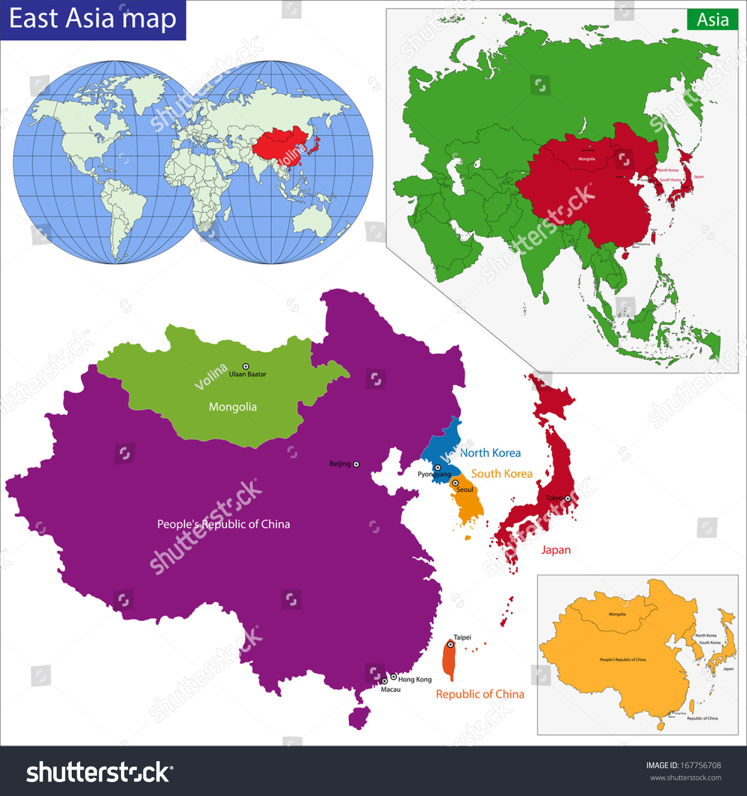 color map eastern asia divided by stock illustration 167756708 shutterstock