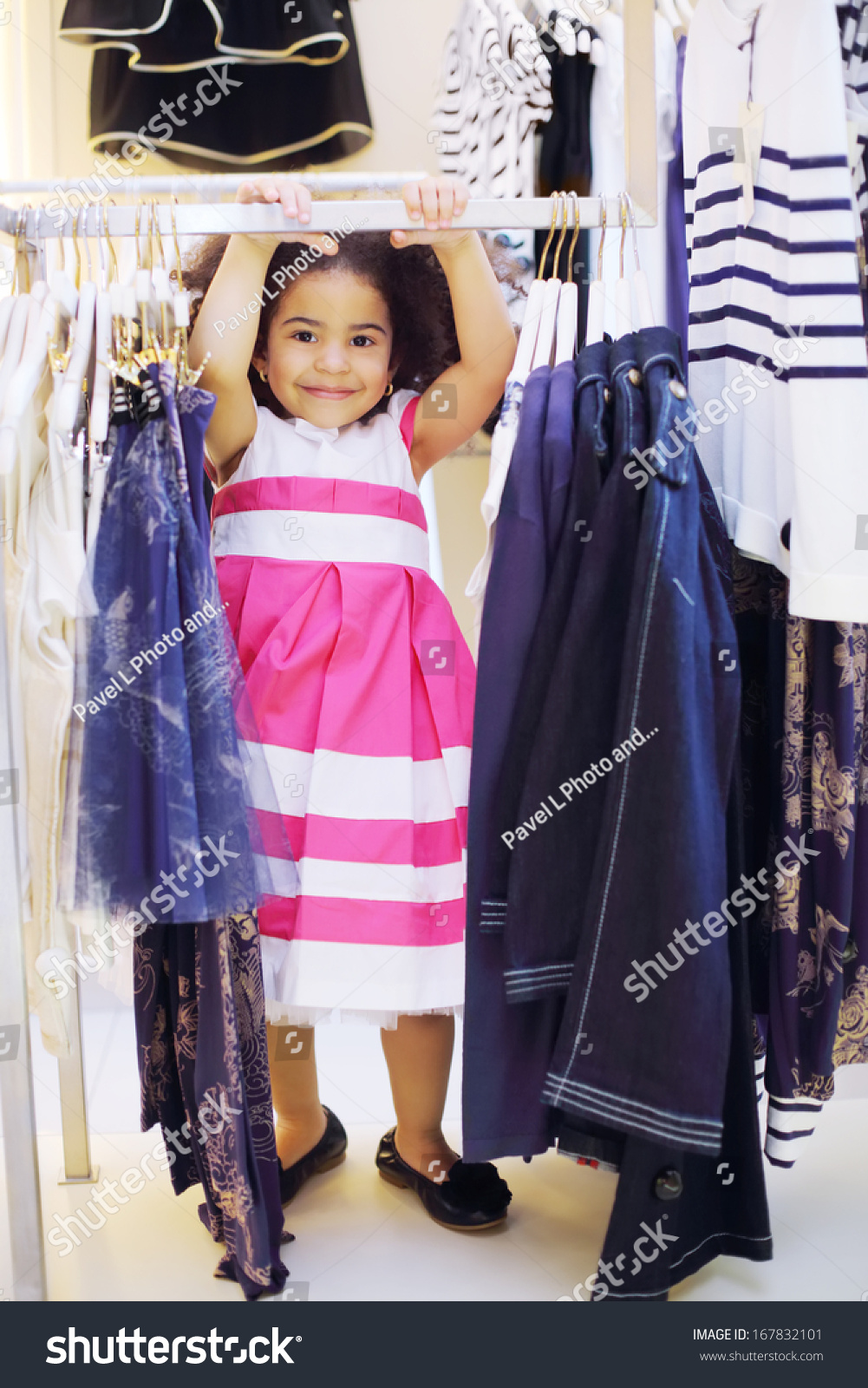 9b680f898 Pretty Little Girl Dress Stands Near Stock Photo (Edit Now ...