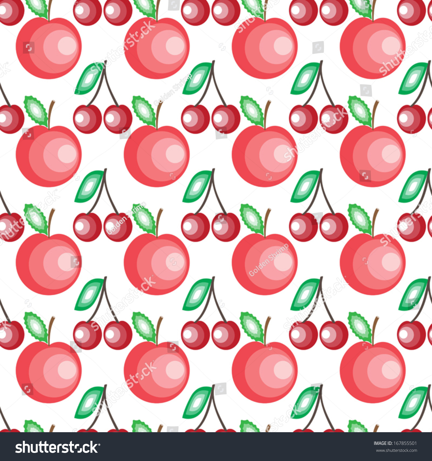 cute fruits seamless background on white stock vector royalty free