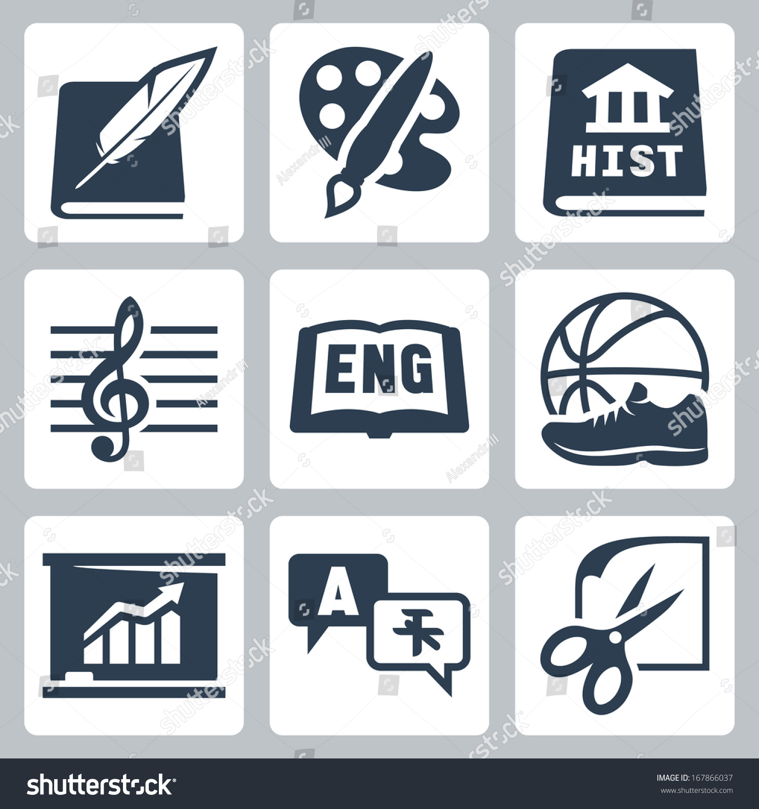 Foreign Language Fiction: Vector School Subjects Icons Set: Literature, Art, History