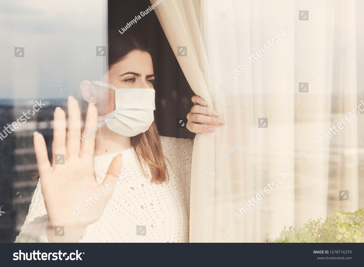 Young woman in medical mask stay isolation at home for self quarantine. Concept home quarantine, prevention COVID-19, Coronavirus outbreak situation #1678716379