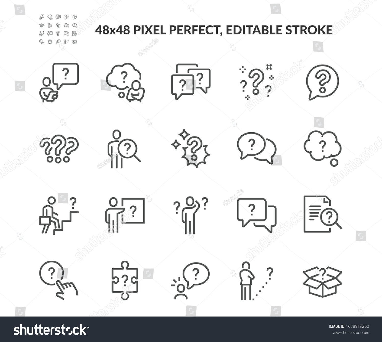 Simple Set of Question Related Vector Line Icons. Contains such Icons as Puzzle, Confused Man, Question Mark and more. Editable Stroke. 48x48 Pixel Perfect. #1678919260