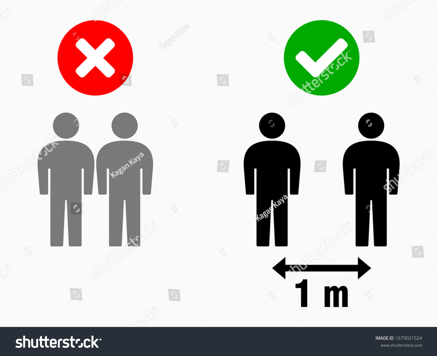 Social Distancing Keep Your Distance 1 m or 1 Metre Infographic Icon. Vector Image.