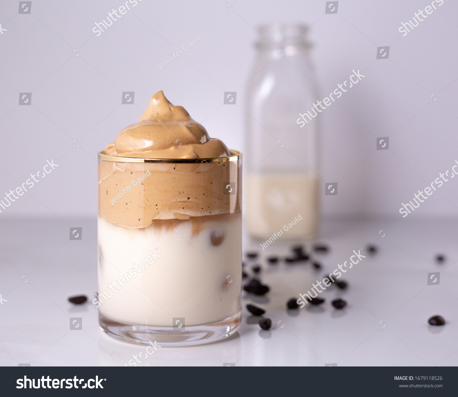 Iced Dalgona Coffee, a trendy fluffy creamy whipped coffee #1679118526