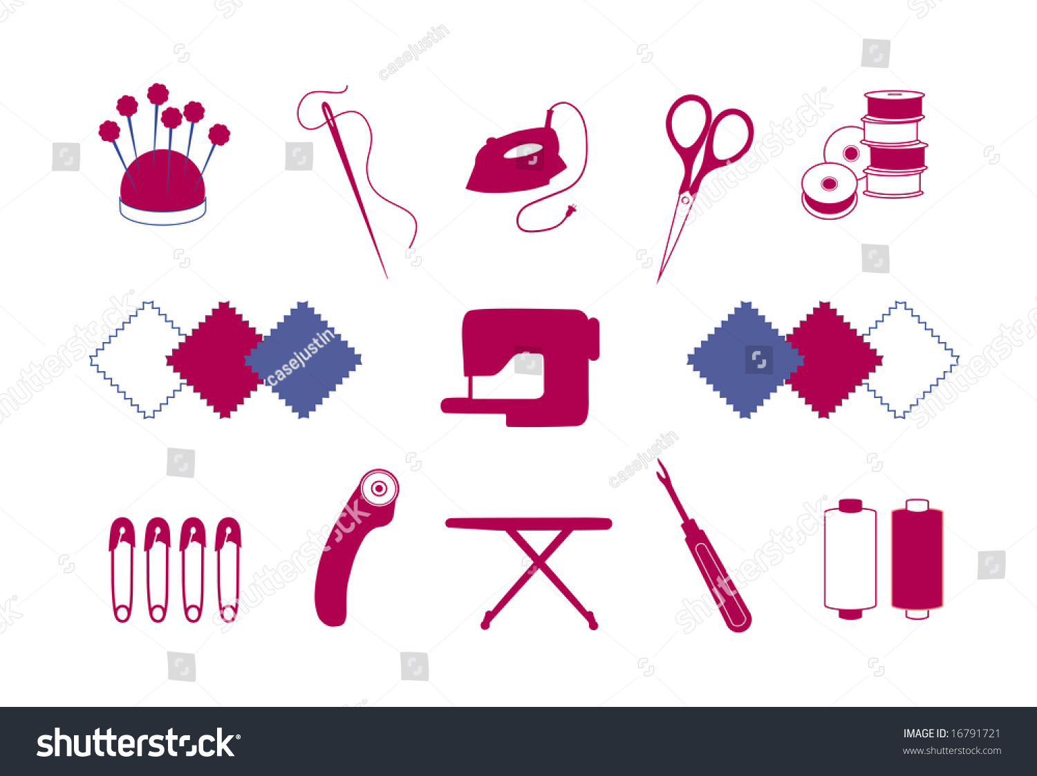 Quilt Patchwork Tools DIY Craft Hobby Stock Vector (Royalty Free ...