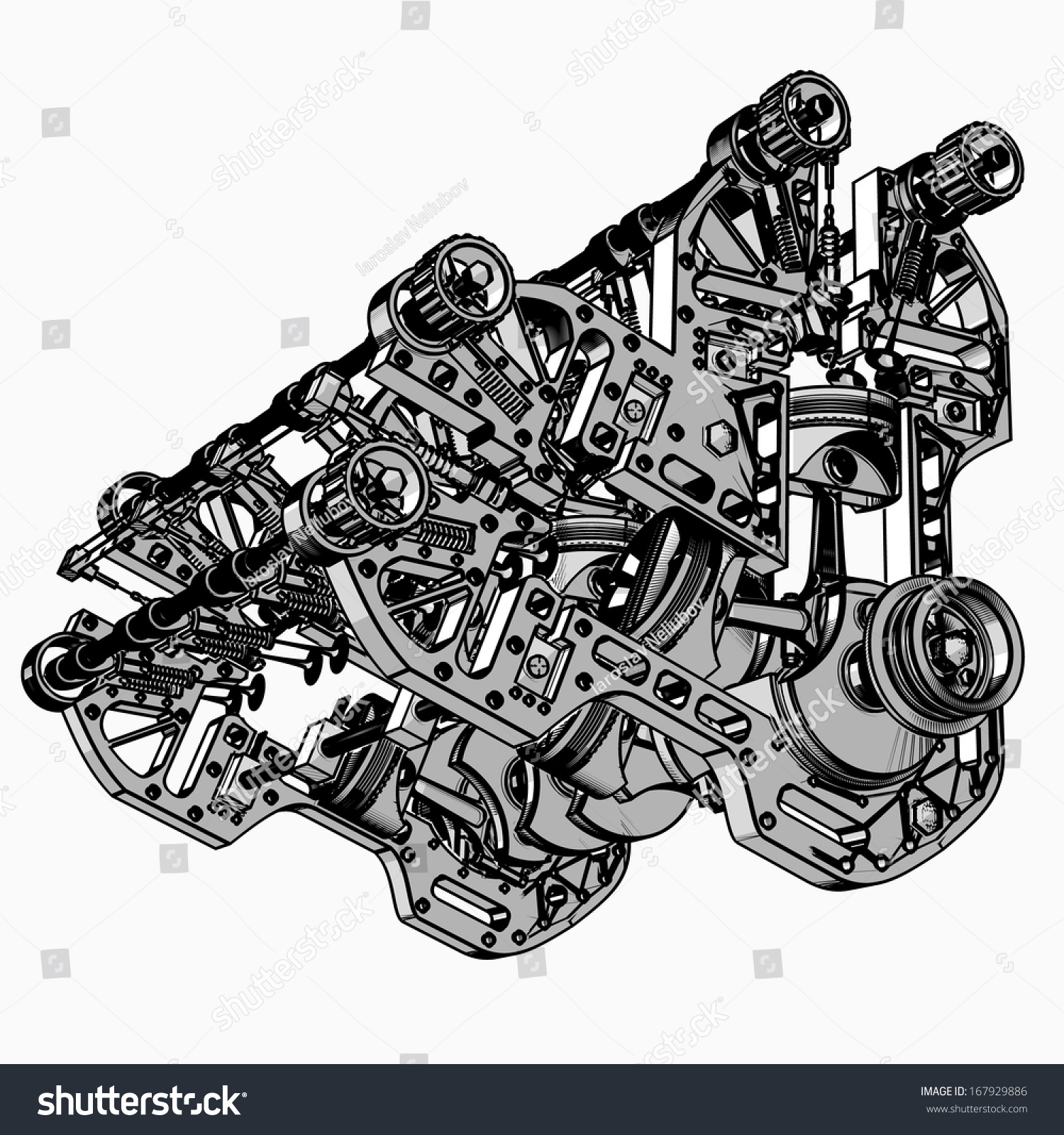 V 8 Car Engine Black White Drawing Stock Illustration 167929886 ...