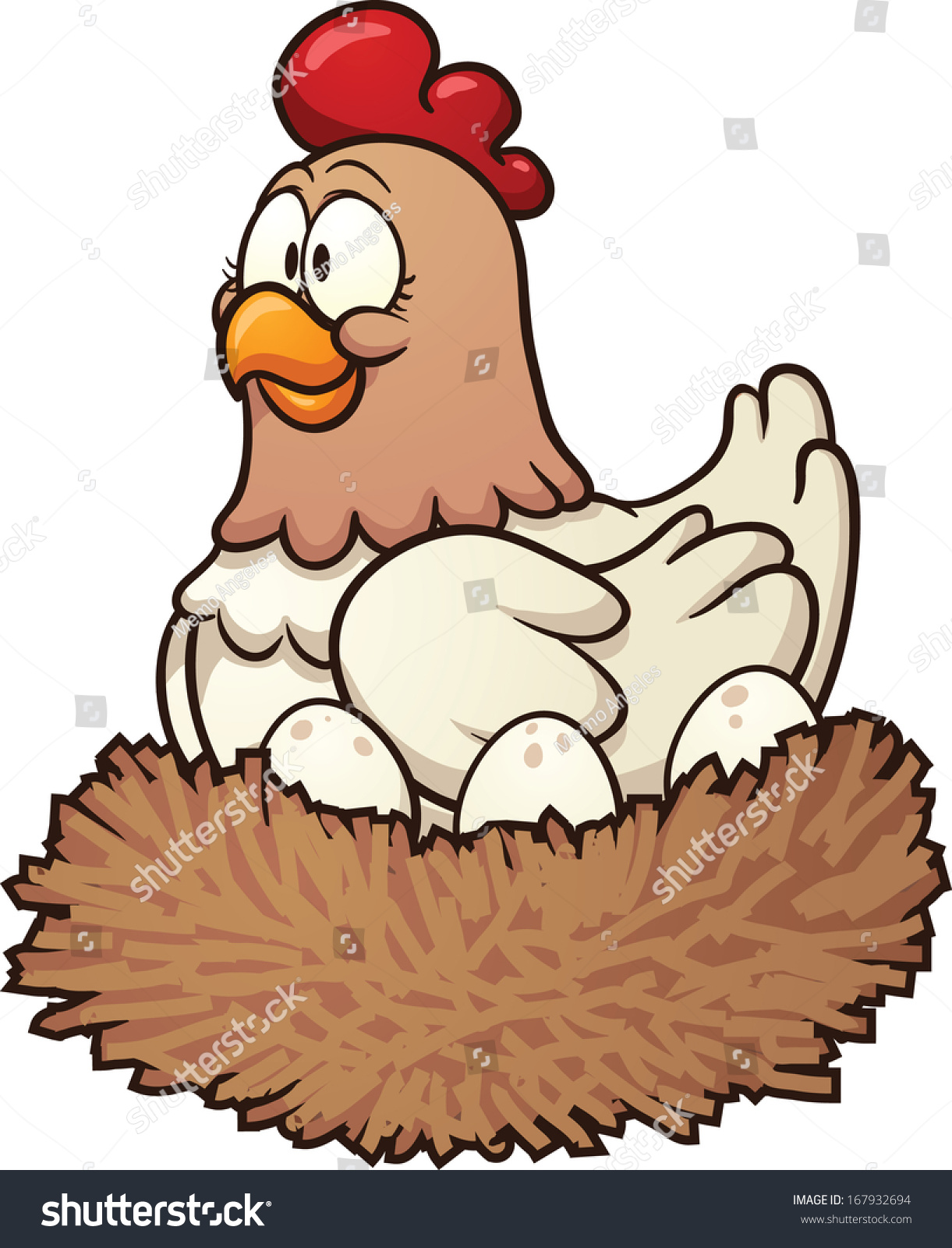 cartoon hen eggs on nest vector stock vector 167932694 shutterstock