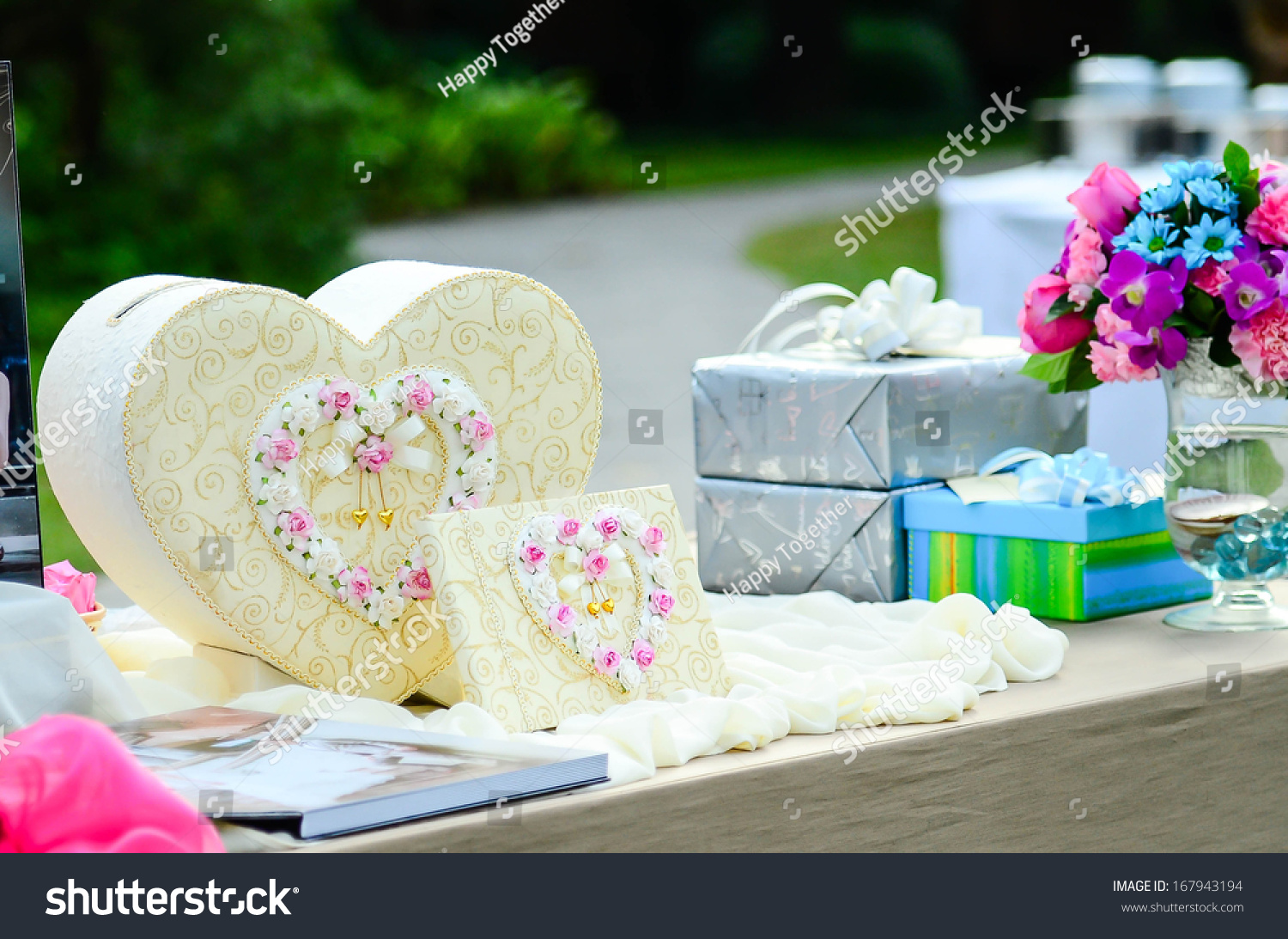 Sweet Gift Box Heart Shape On Table For Wedding Day Ez Canvas