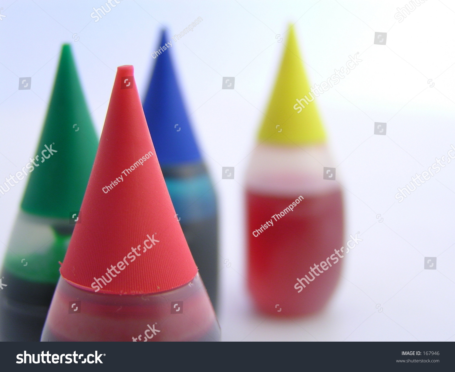 Food Coloring Bottles Meant Suggest Diversity Stock Photo