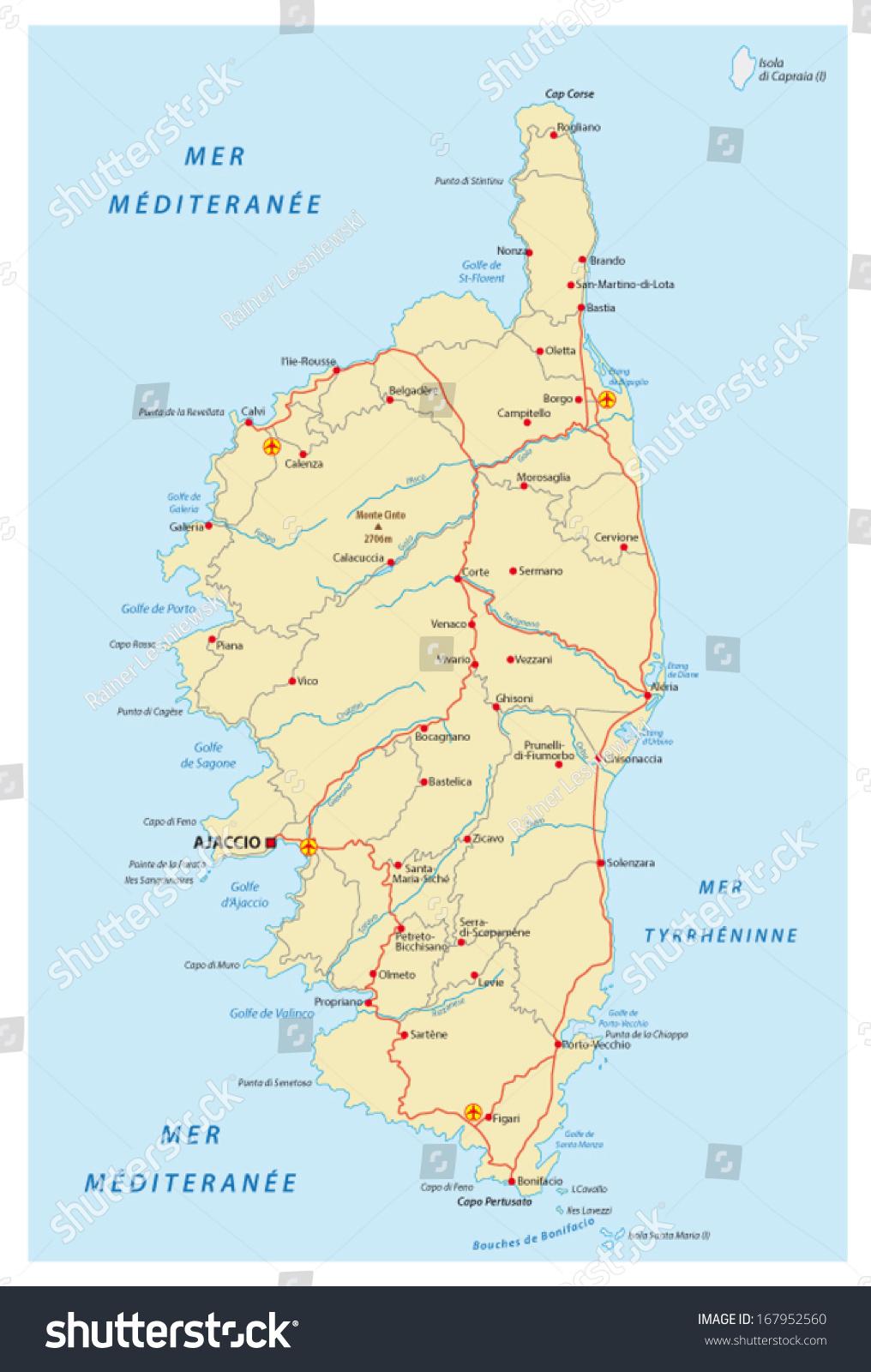 Corsica Road Map Stock Vector 167952560 Shutterstock
