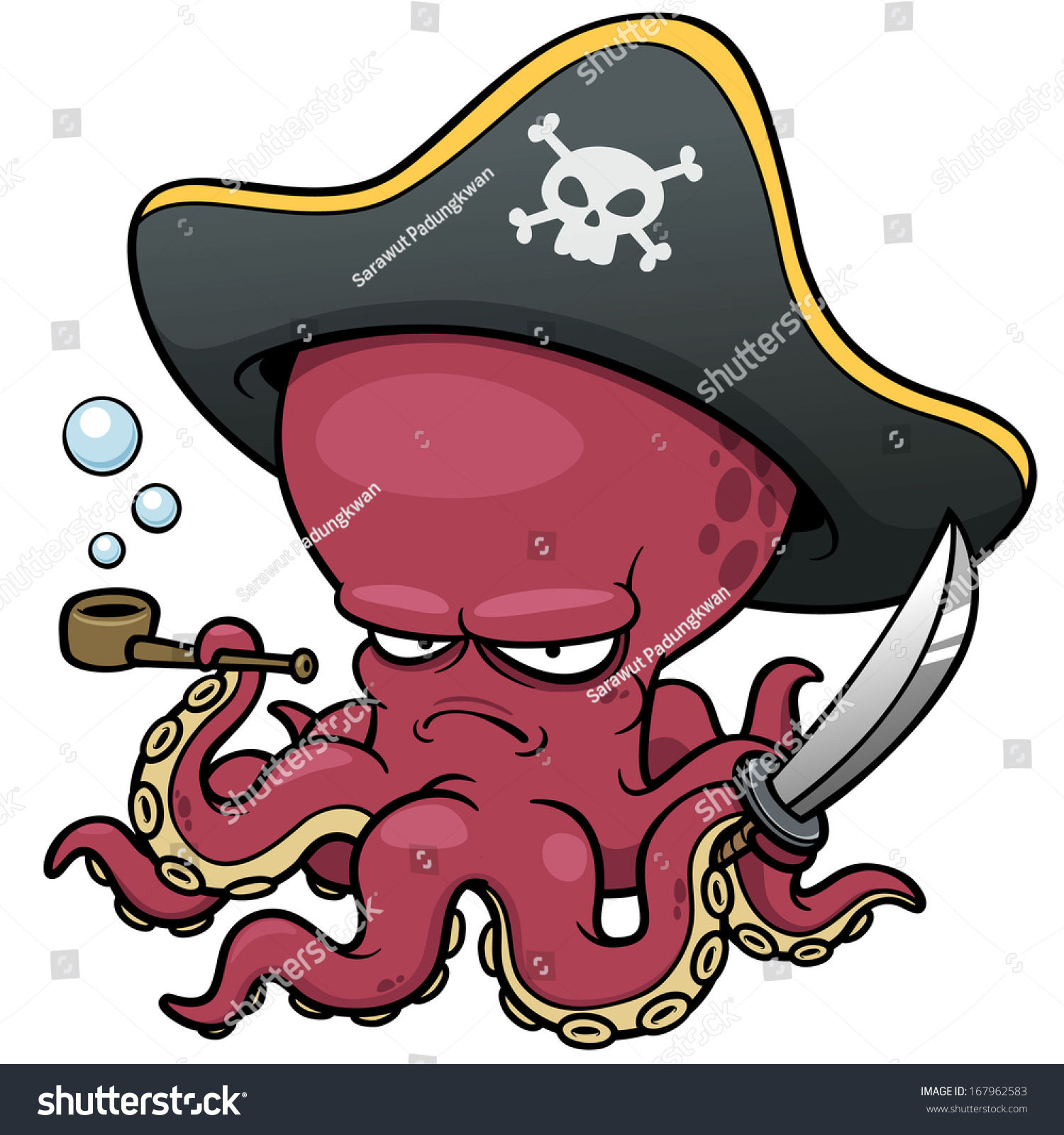 Vector illustration cartoon pirate octopus stock vector for Octopus in cartoon