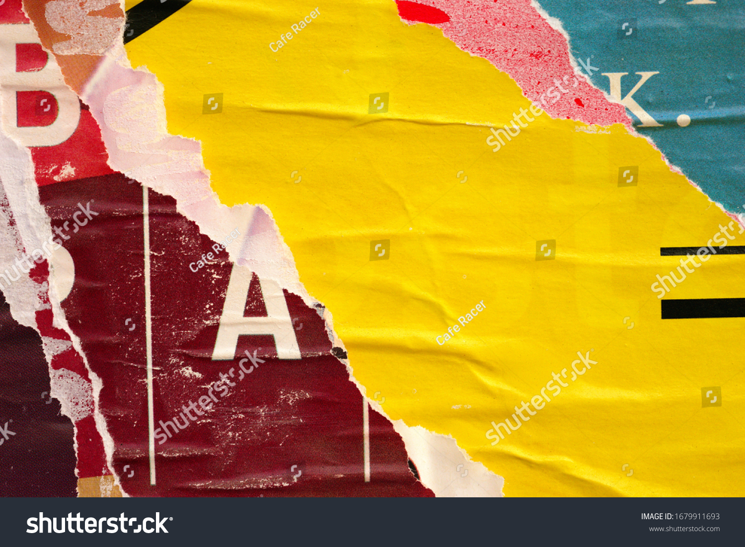 Old ripped torn posters grunge texture background creased crumpled paper backdrop placard surface / Urban street posters  #1679911693
