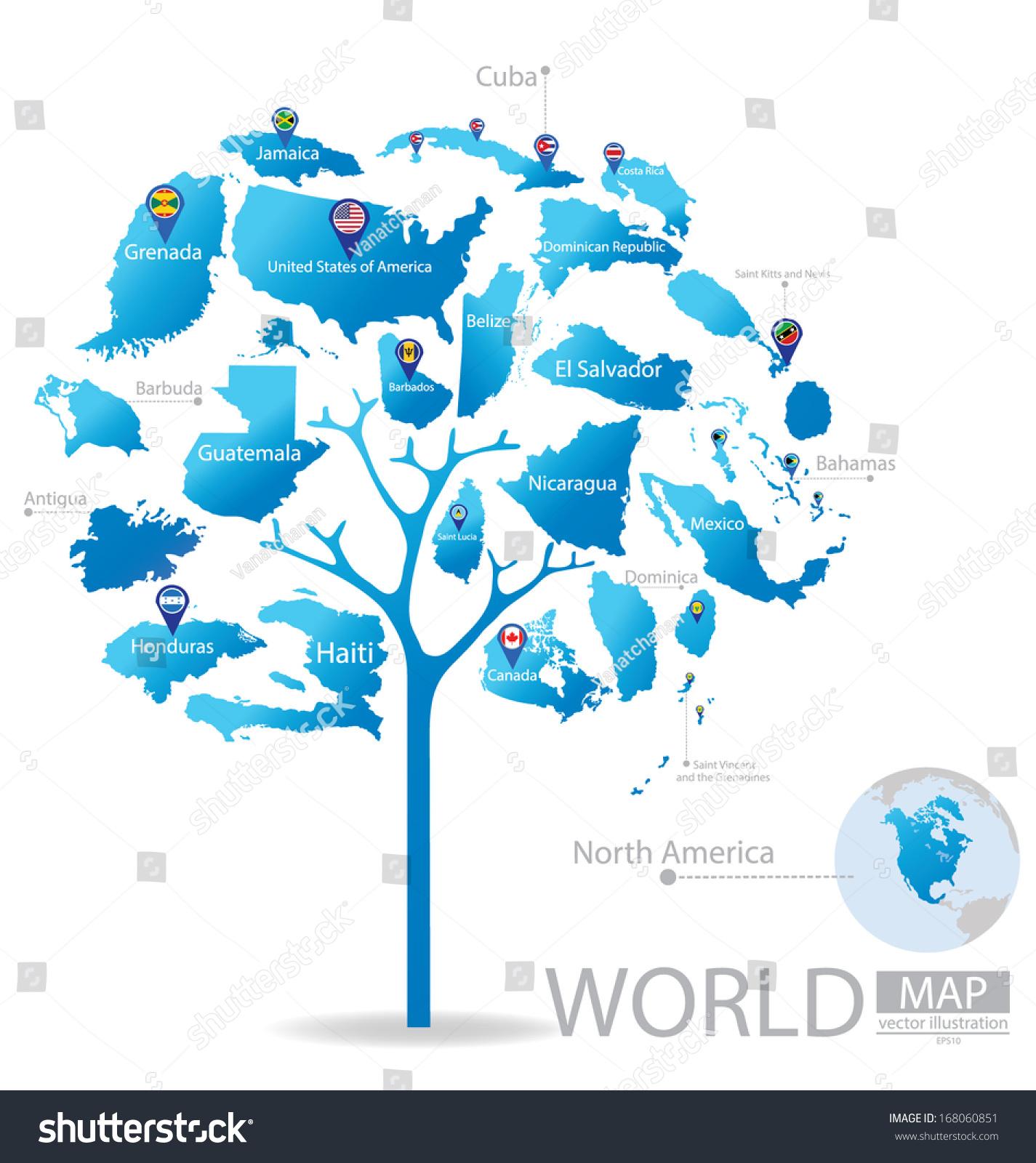 Tree design countries north america world stock vector 168060851 countries in north america world map vector illustration gumiabroncs Choice Image