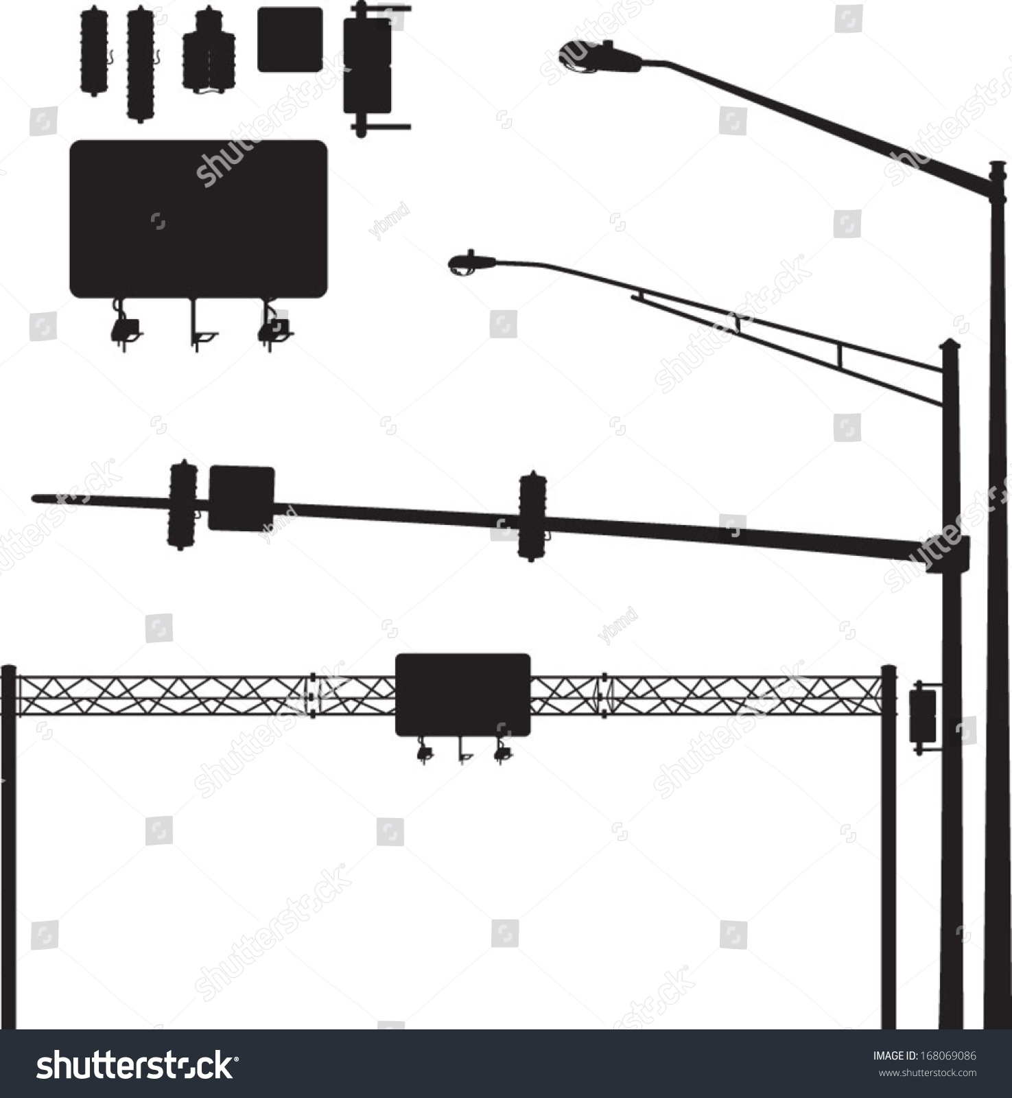 Vector Silhouettes Street Lights Highway Signs Stock Royalty Light Circuit Diagram Traffic Of And Its Easy To Mix