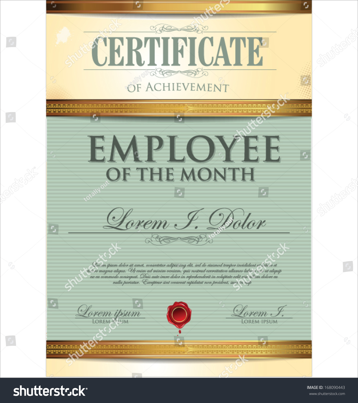 Certificate template employee month stock vector 168090443 for Employee of the month certificate template with picture
