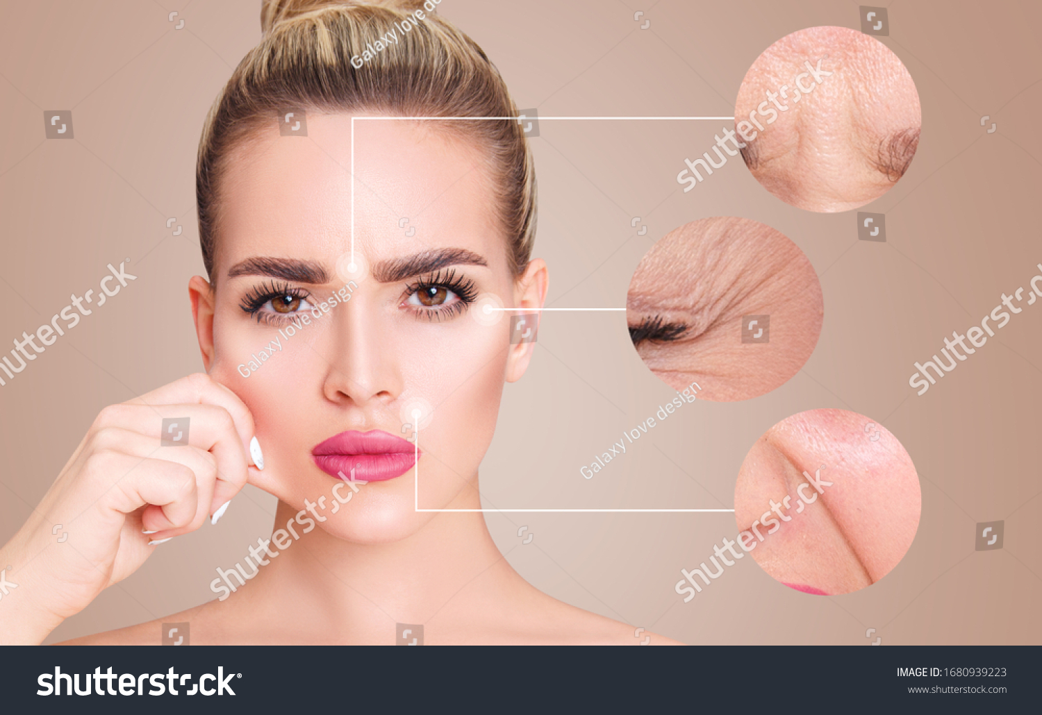 Circles with elderly wrinkled skin shows before and after lifting cosmetic procedure. Rejuvenation concept. #1680939223