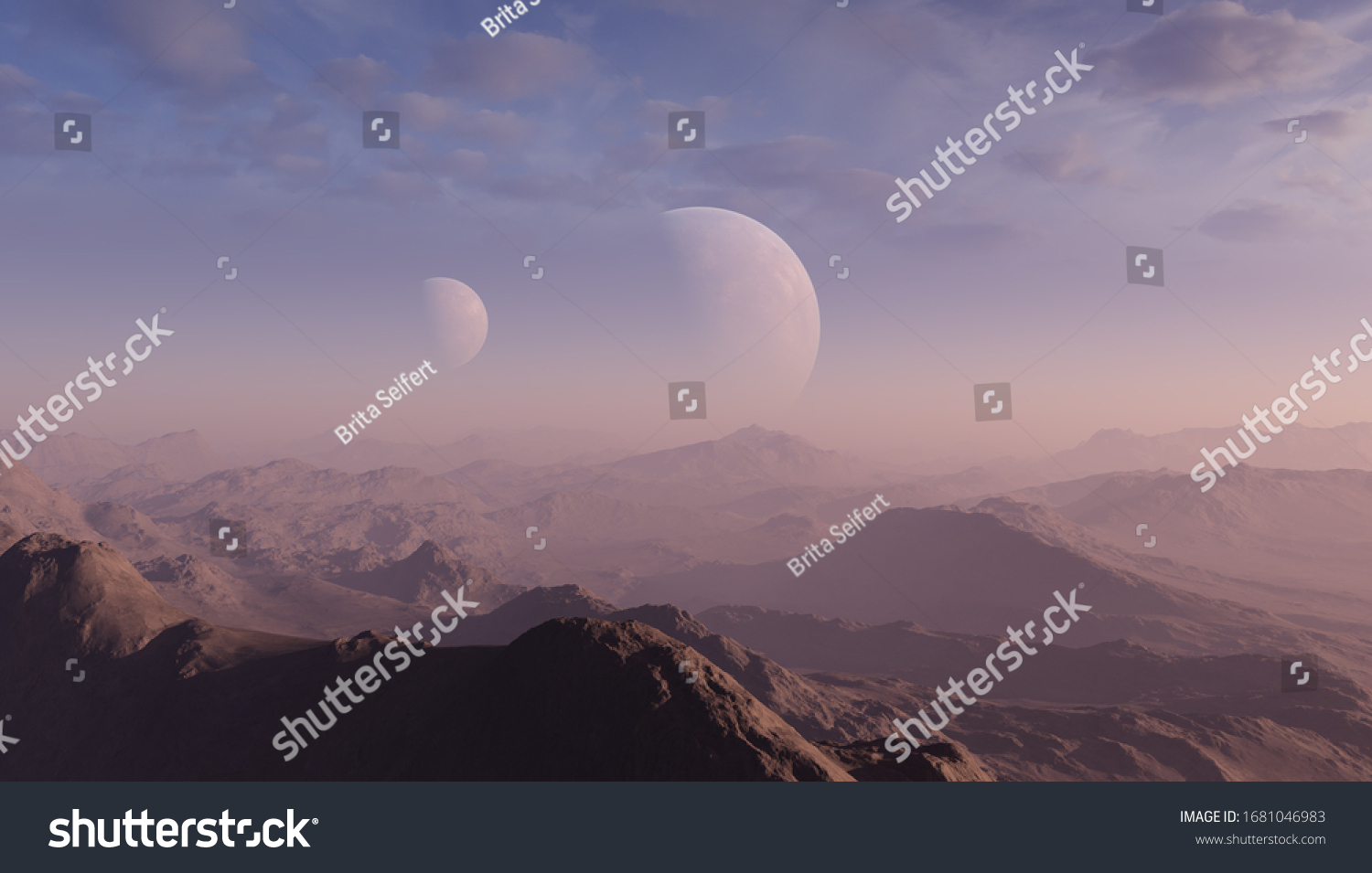 3d rendered Space Art: Alien Planet - A Fantasy Landscape with blue skies and clouds #1681046983