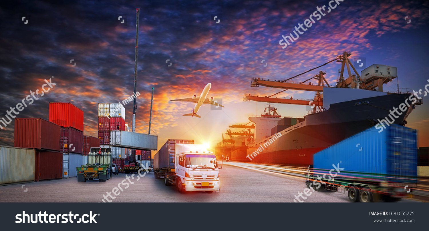 Container truck in ship port for business Logistics and transportation of Container Cargo ship and Cargo plane with working crane bridge in shipyard, logistic import export  and transport concept #1681055275